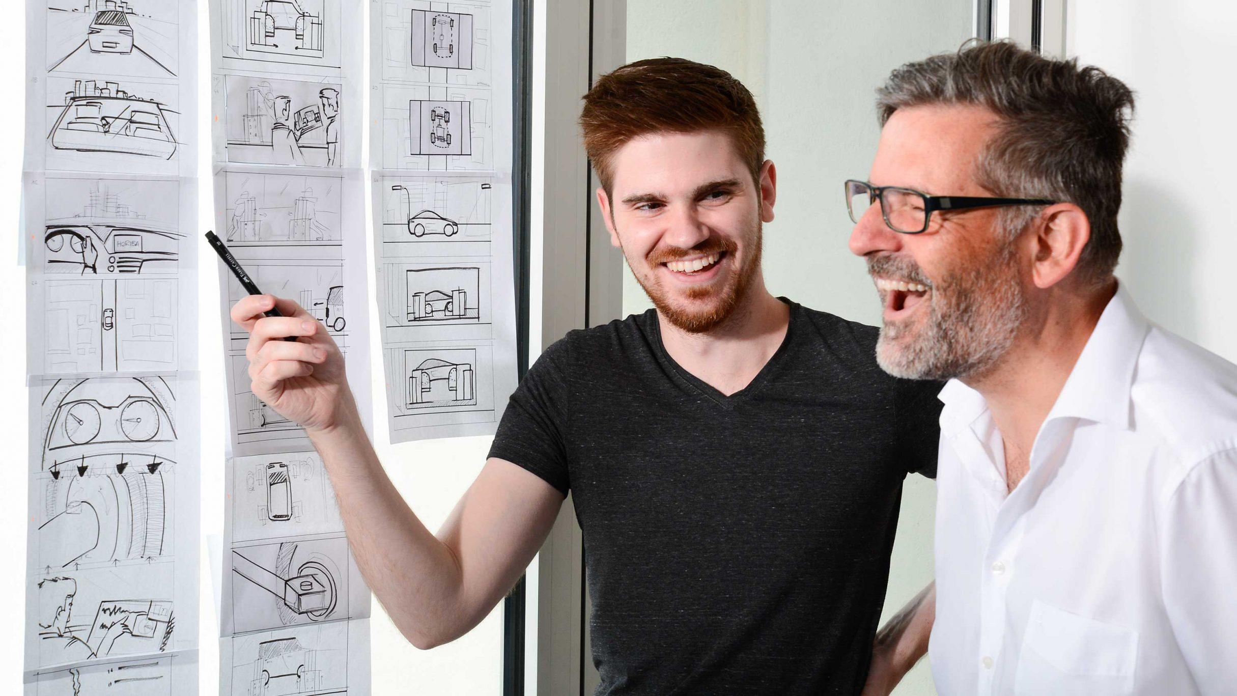 Stephan und Alexander am Storyboard: DIE NEUDENKER® Agentur, Darmstadt