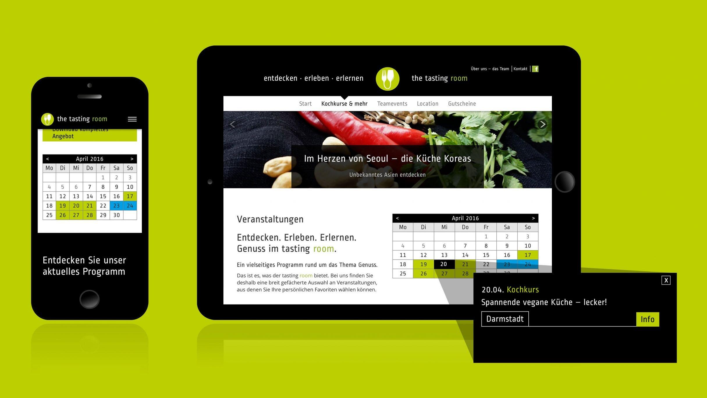 Webdesign, Buchungskalender für the tasting room Kochkurse Darmstadt: DIE NEUDENKER® Agentur, Darmstadt