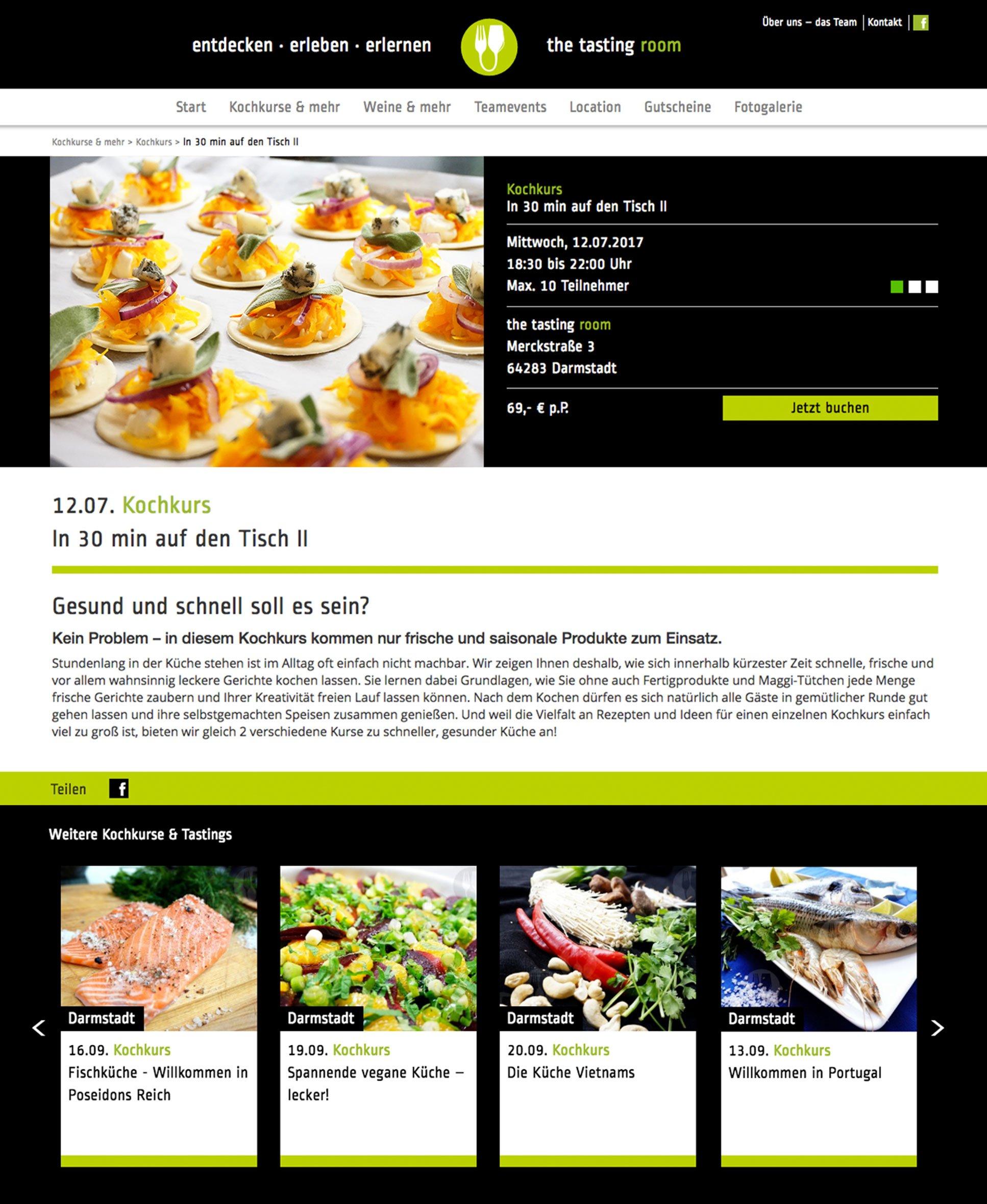 Webdesign, Kochkurse für the tasting room: DIE NEUDENKER® Agentur, Darmstadt