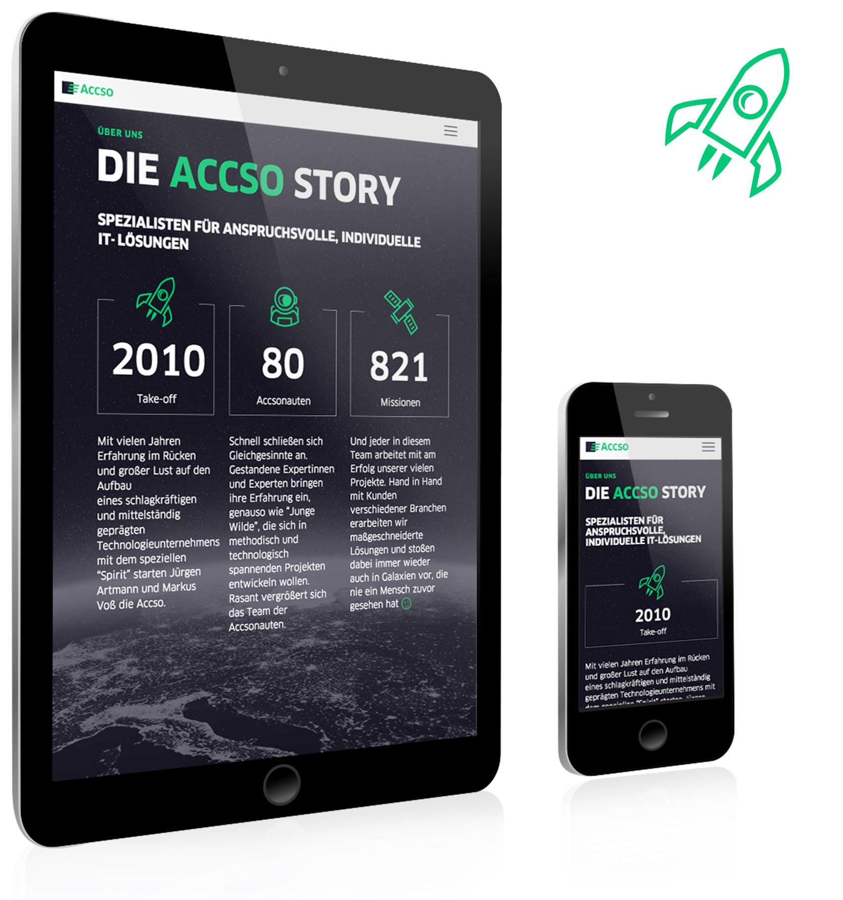 Responsive Webdesign, Story für accso: DIE NEUDENKER® Agentur, Darmstadt