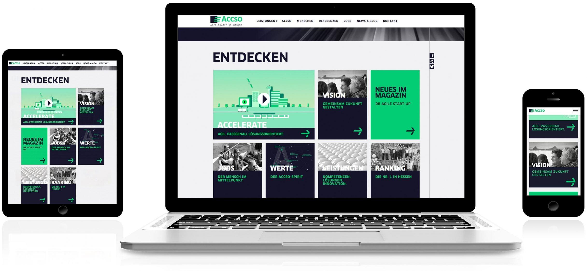 Responsive Webdesign für accso: DIE NEUDENKER® Agentur, Darmstadt