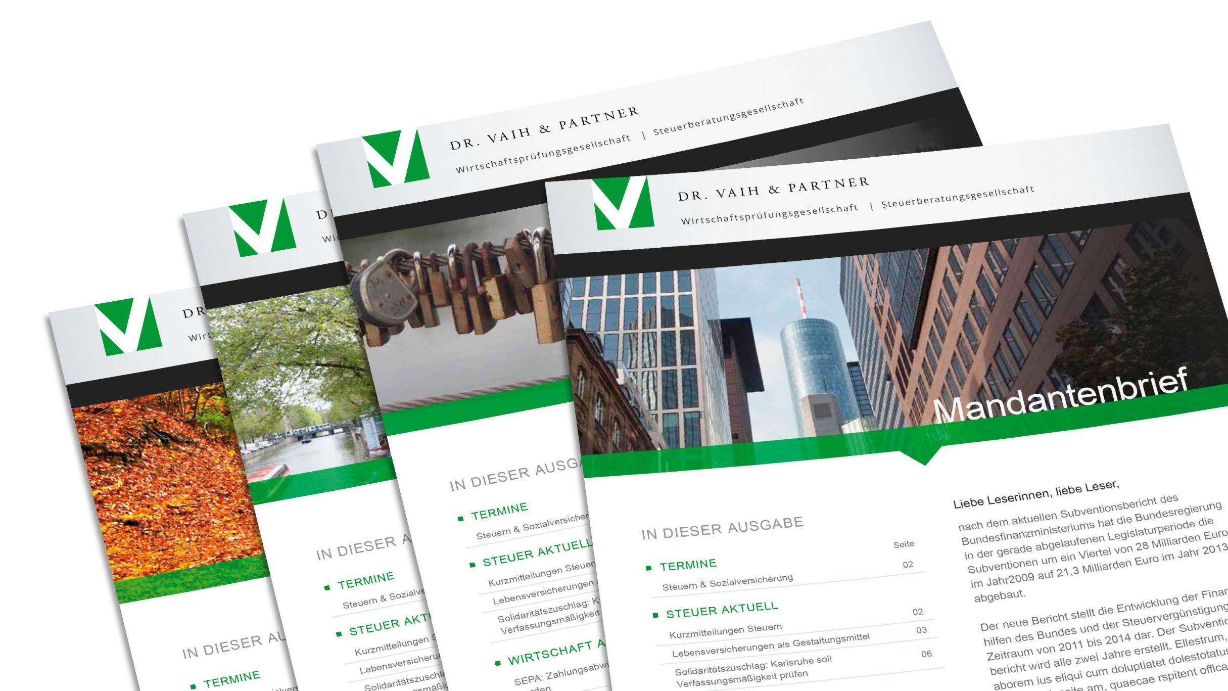 Corporate Design, Mandantenbrief für Dr. Vaih und Partner: DIE NEUDENKER® Agentur, Darmstadt
