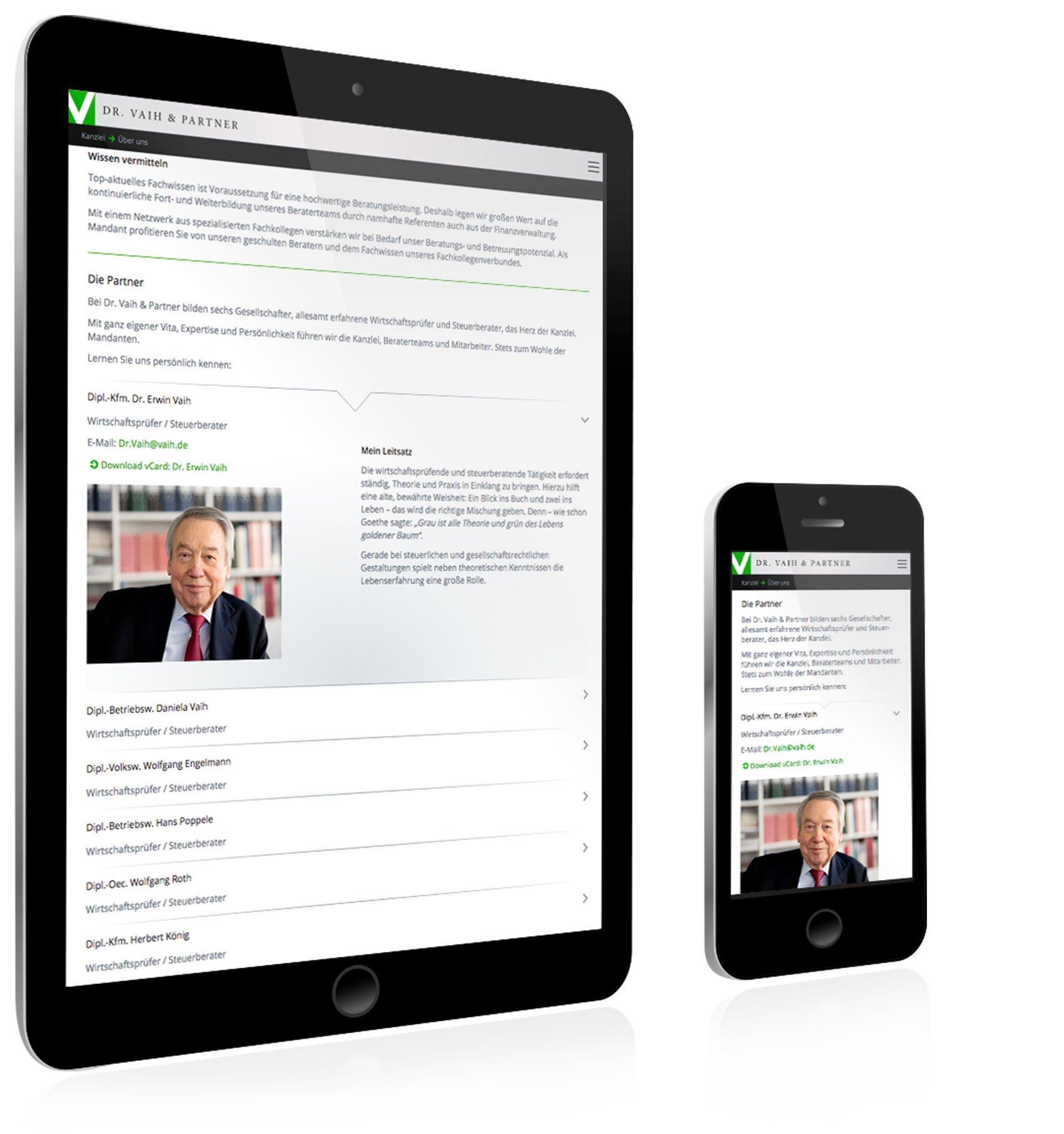 Responsive Webdesign für Dr. Vaih und Partner Stuttgart: DIE NEUDENKER® Agentur, Darmstadt