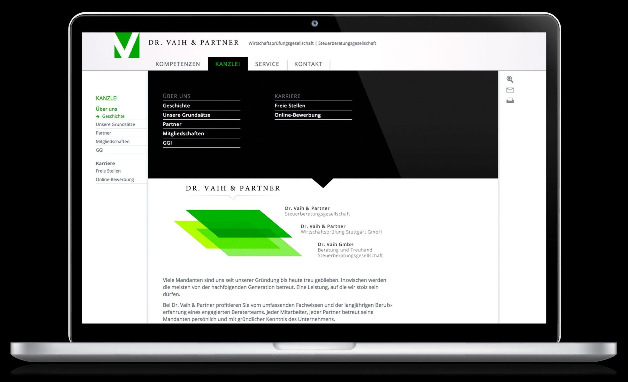 Corporate Website für Dr. Vaih und Partner Wirtschaftsprüfung: DIE NEUDENKER® Agentur, Darmstadt