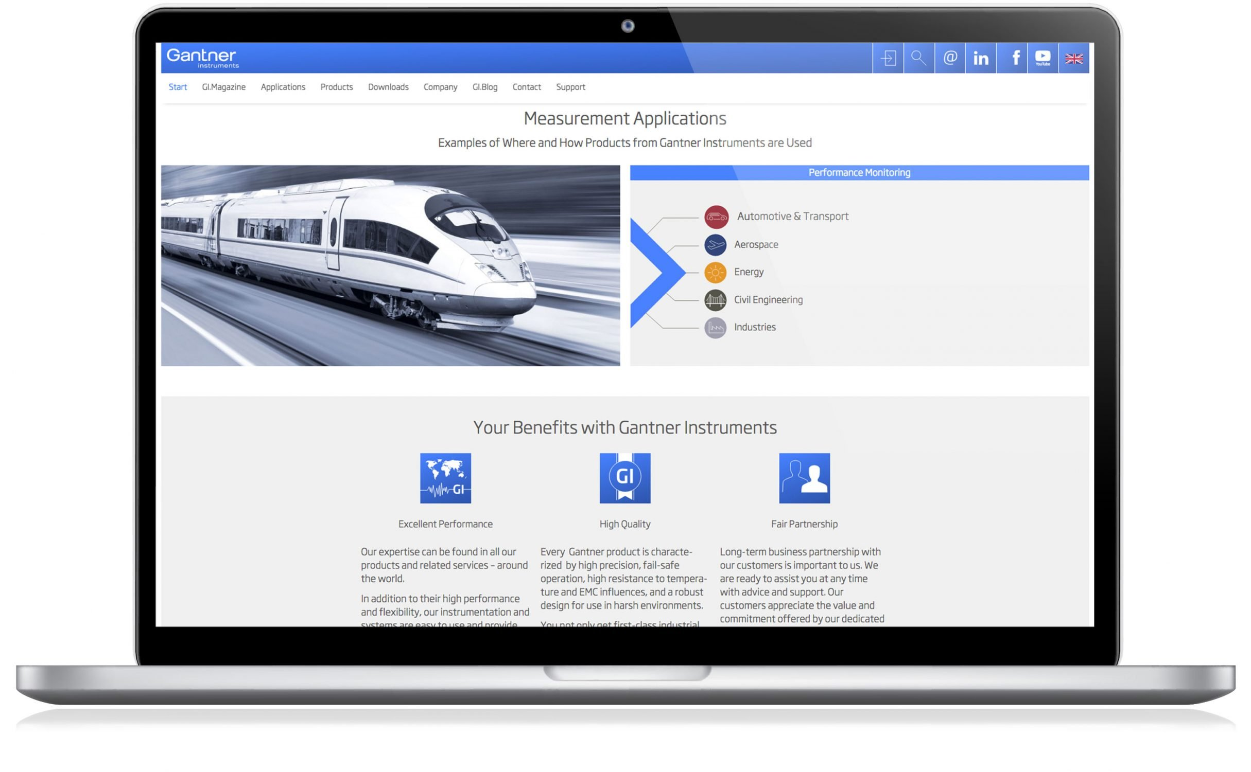 Website, Performance Monitoring für Gantner Instruments: DIE NEUDENKER® Agentur, Darmstadt