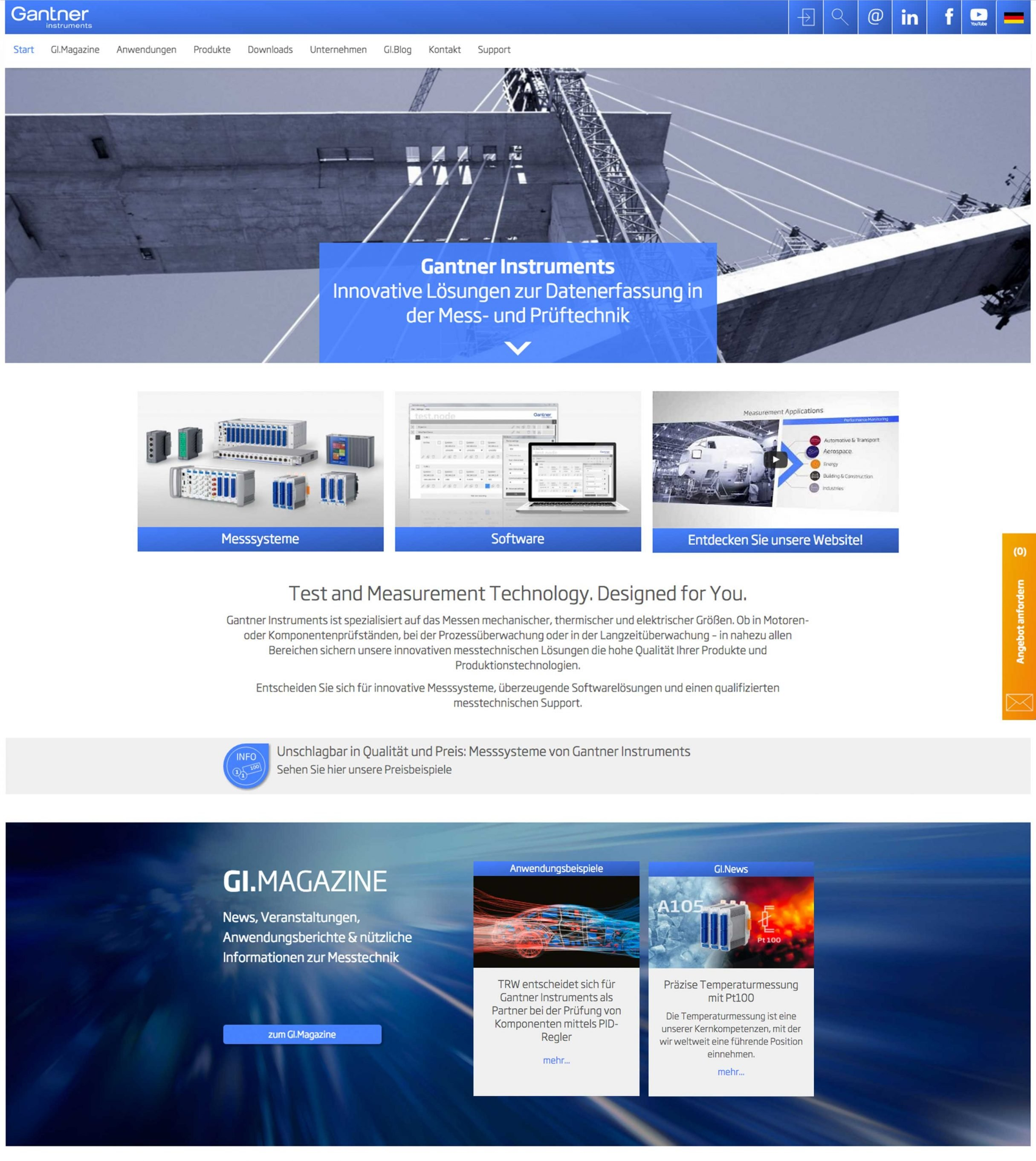 Website, Startseite für Gantner Instruments: DIE NEUDENKER® Agentur, Darmstadt