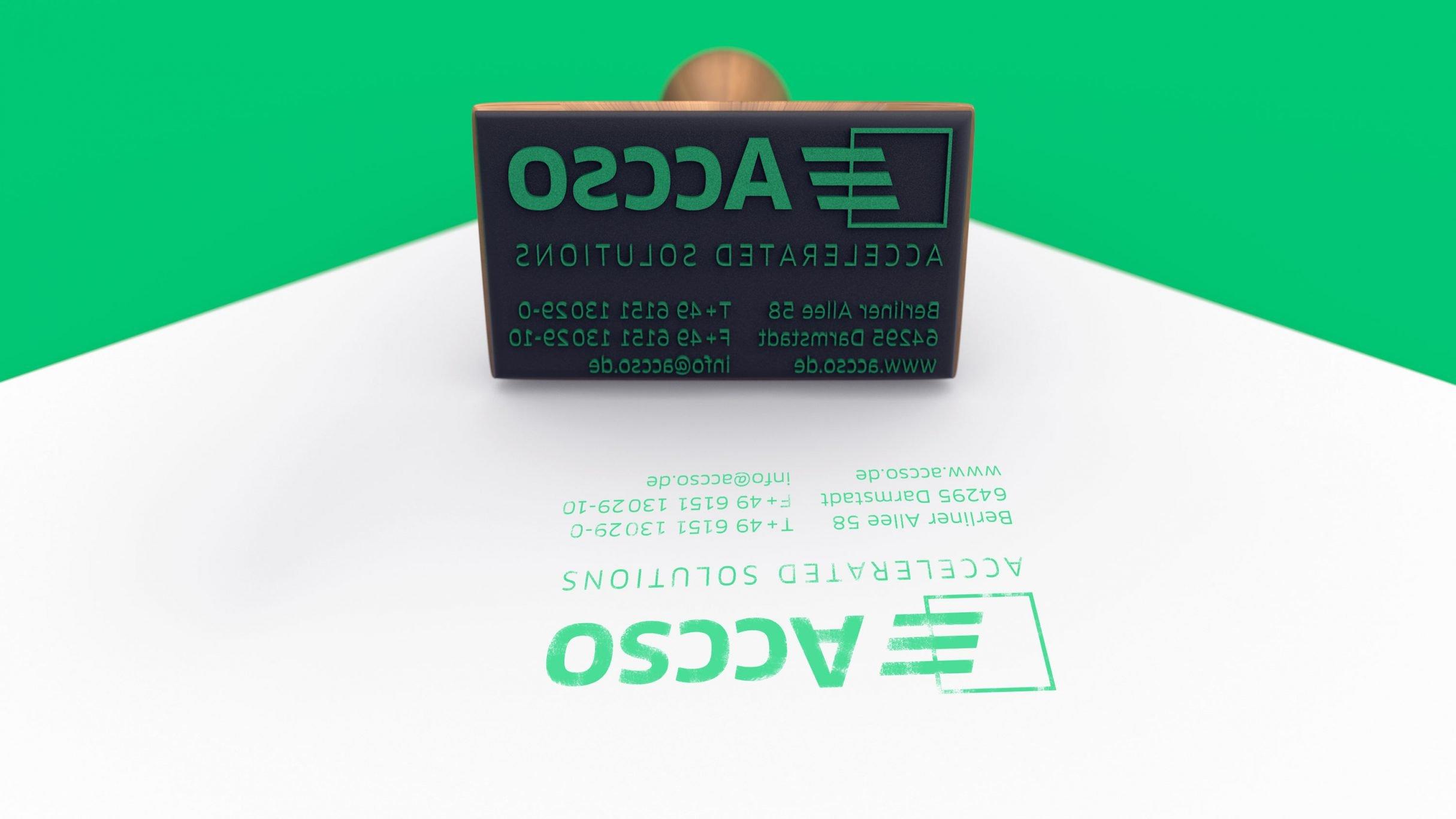 Corporate Design, Stempel für accso: DIE NEUDENKER® Agentur, Darmstadt