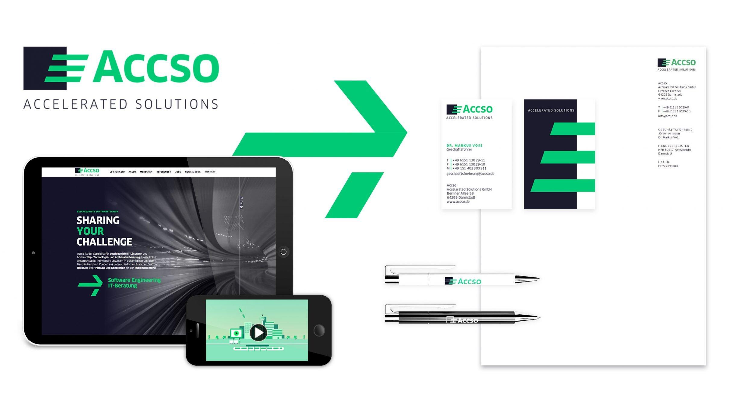 corporate design für accso, bestehend aus Logo, Briefpapier, Visitenkarte und Website