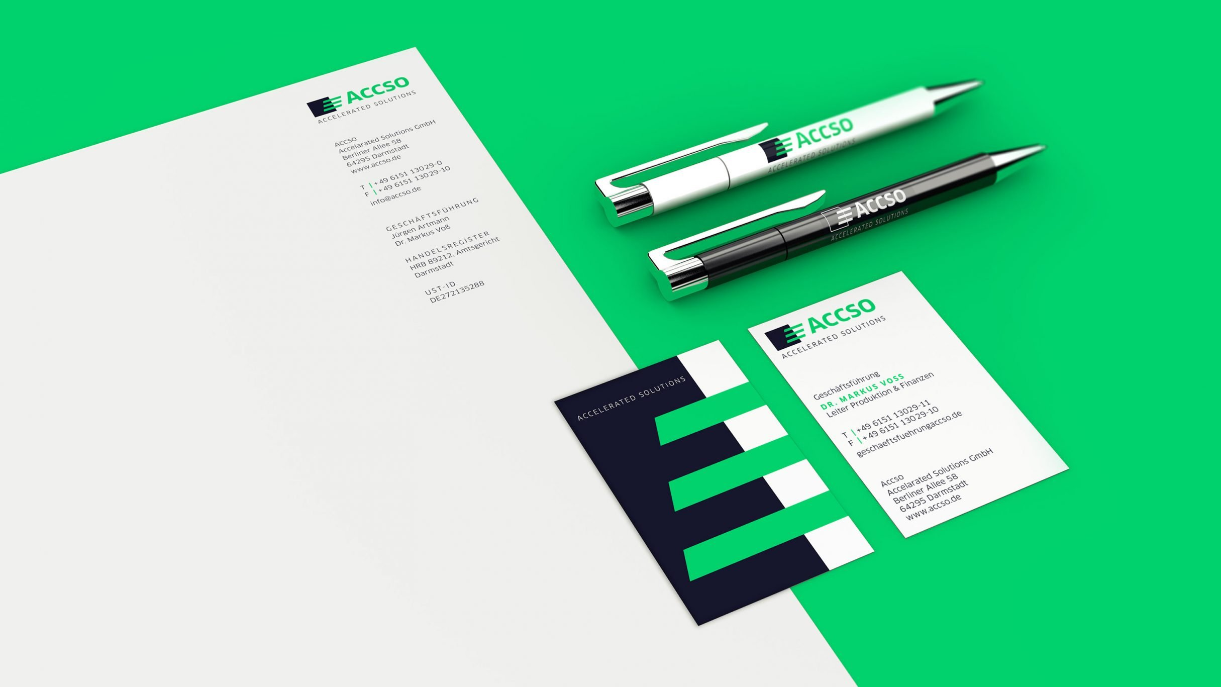 Corporate Design für accso: Visitenkarten, Briefpapier und bedruckte Kugelschreiber