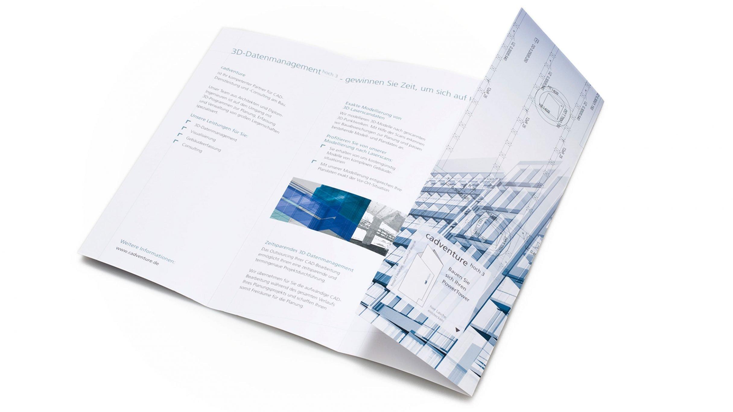 Corporate Design, Flyer Power Tower für cadventure: DIE NEUDENKER® Agentur, Darmstadt