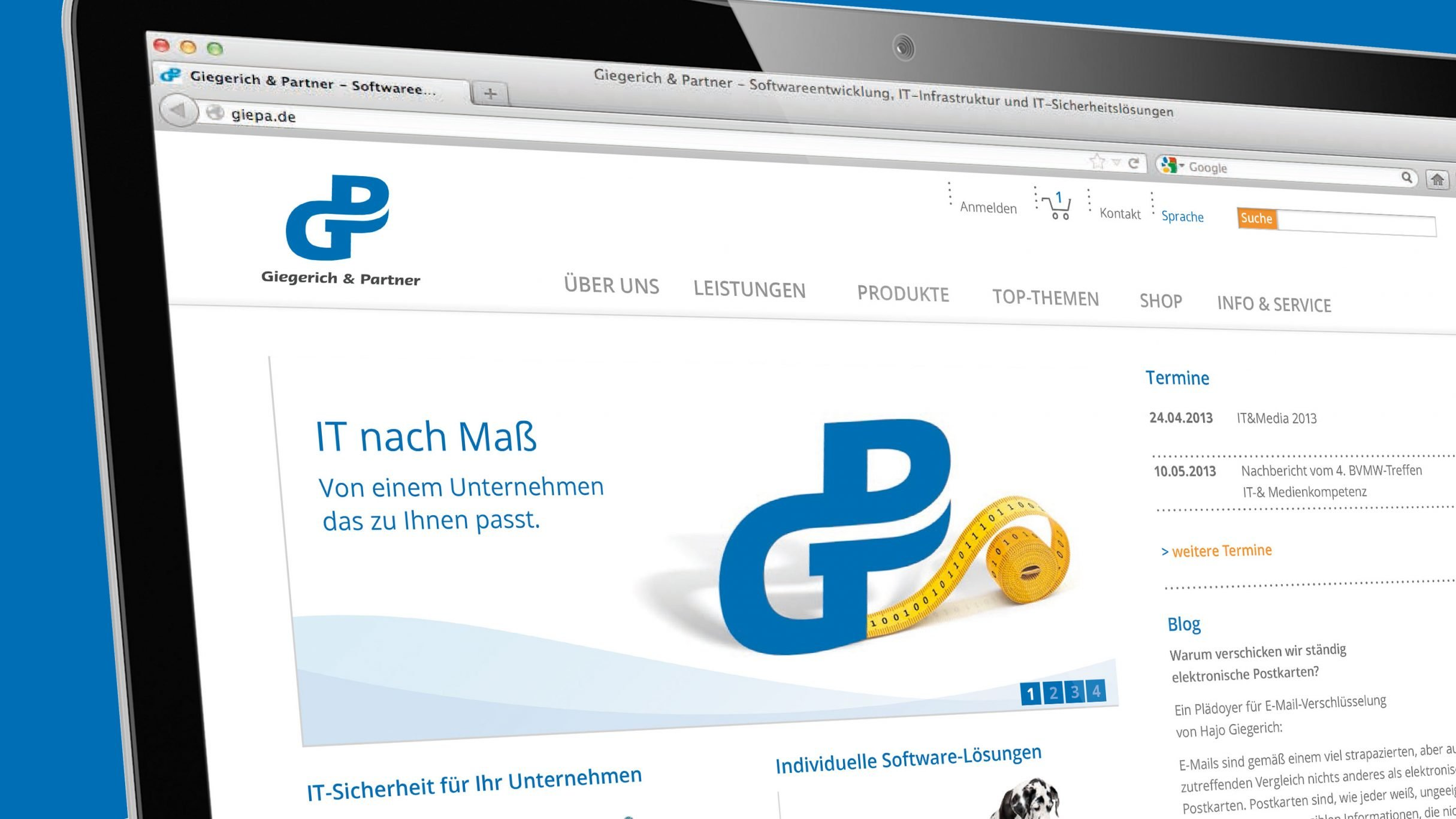 Responsive Webdesign, Webshop für Giegerich und Partner: DIE NEUDENKER® Agentur, Darmstadt
