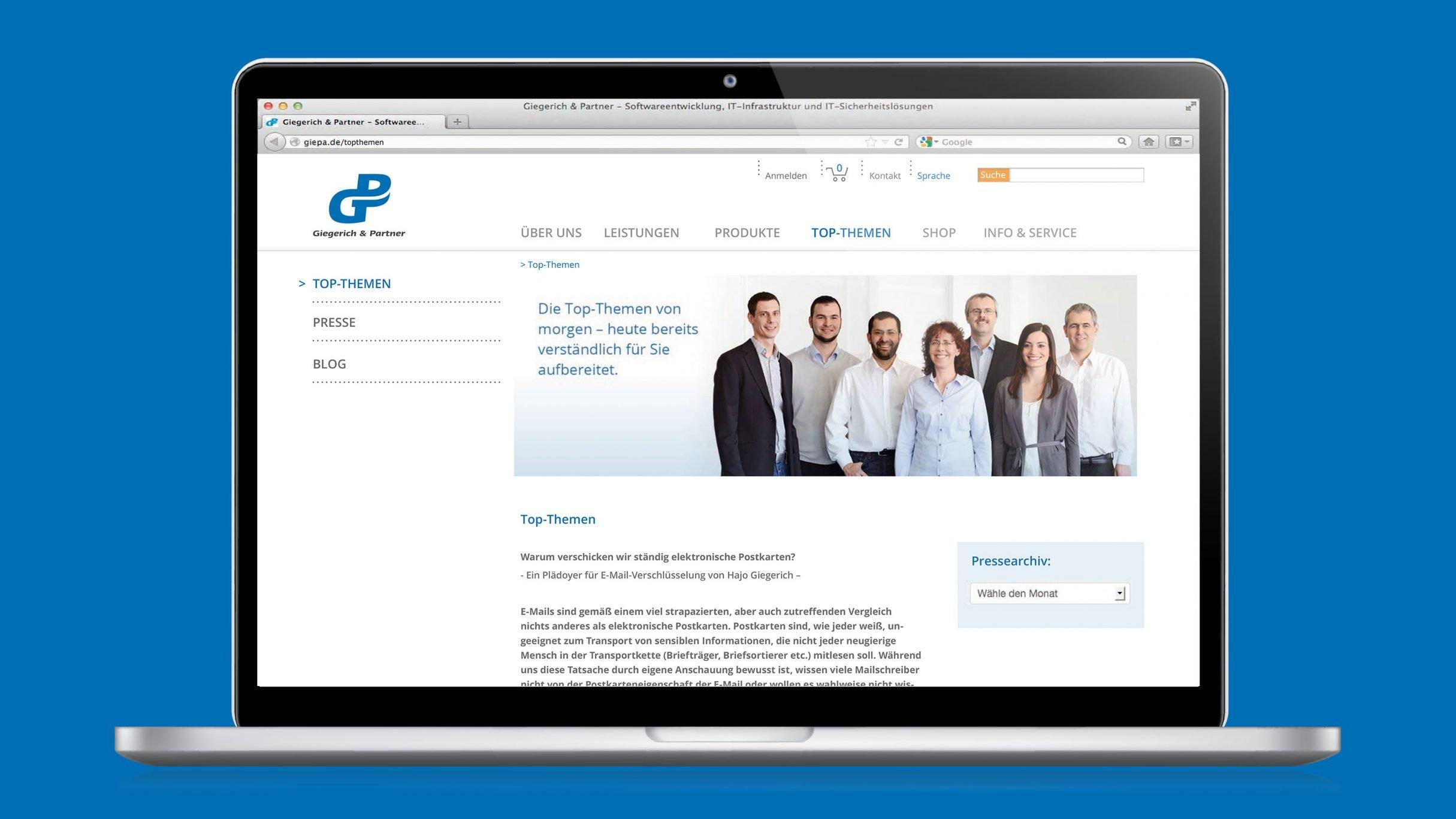 Software Entwicklung für Giegerich und Partner: DIE NEUDENKER® Agentur, Darmstadt