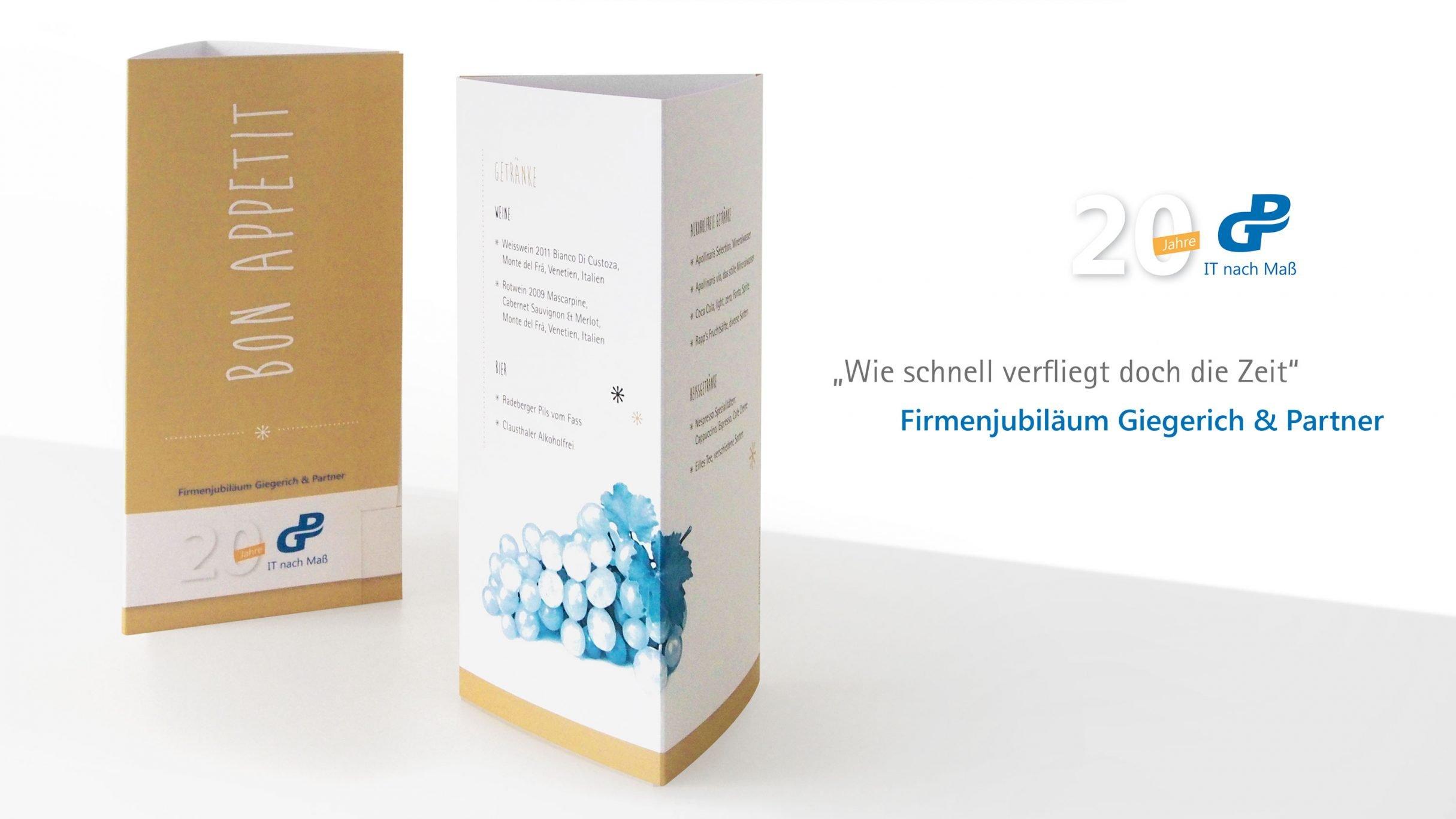 Firmenjubiläum Kartendesign für Giegerich und Partner: DIE NEUDENKER® Agentur, Darmstadt