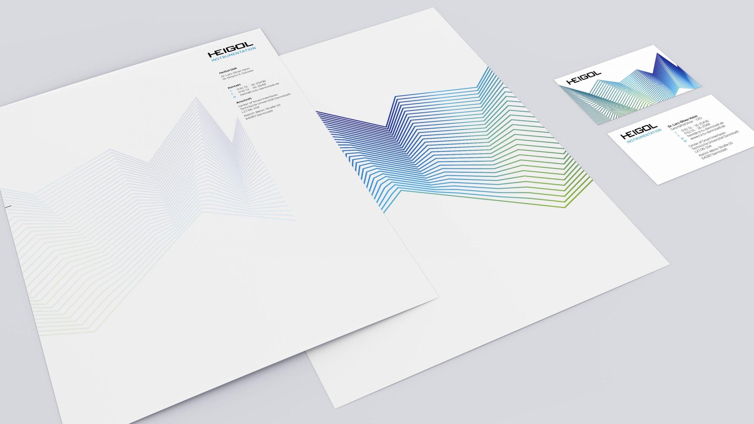 Corporate Design, Briefpapier und Visitenkarte für HEIGOL: DIE NEUDENKER® Agentur, Darmstadt