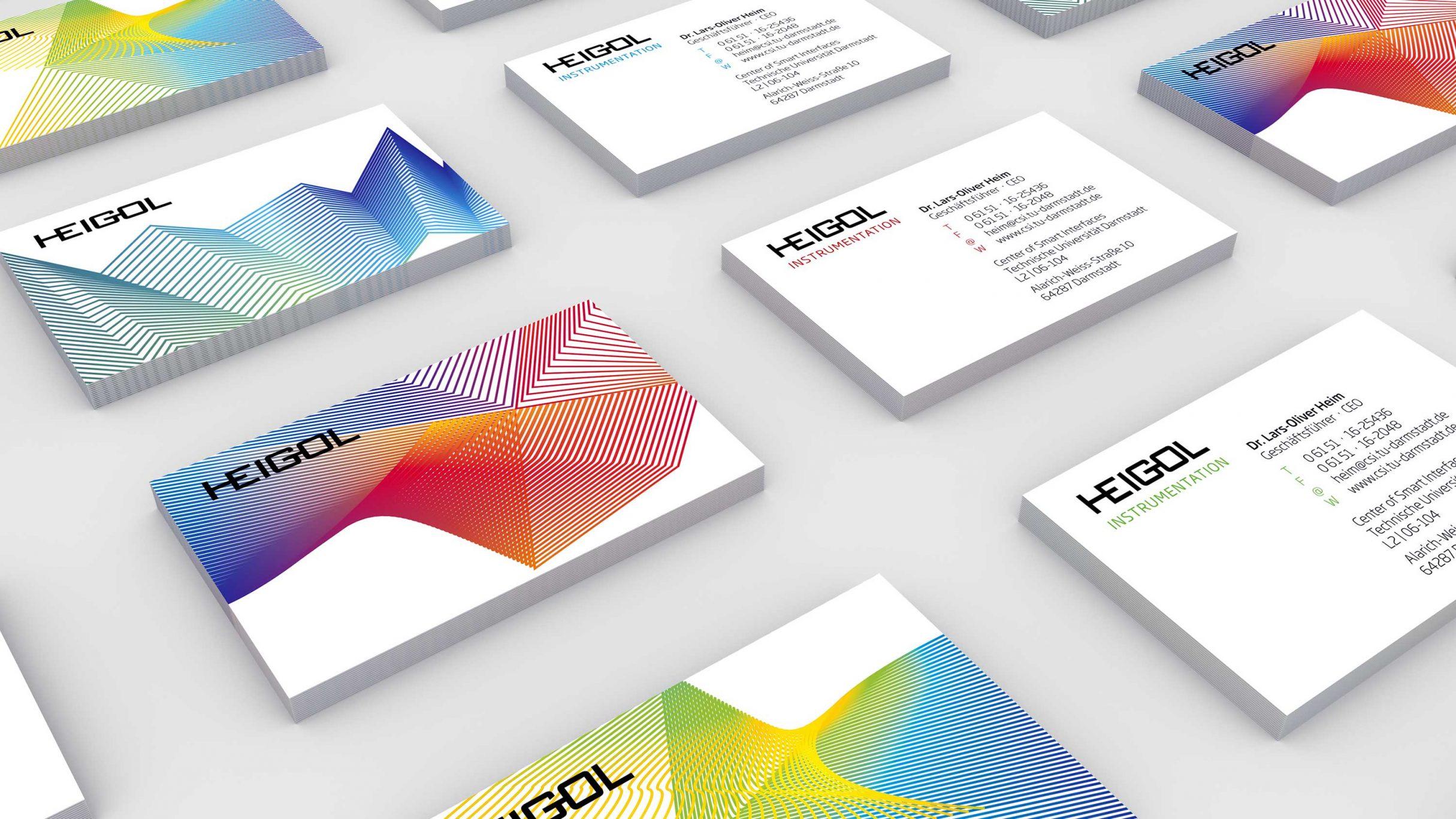 Corporate Design, Logos, Marke, Hausschrift, Visitenkarten für Dr. Lars-Oliver Heim, HEIGOL: DIE NEUDENKER® Agentur, Darmstadt