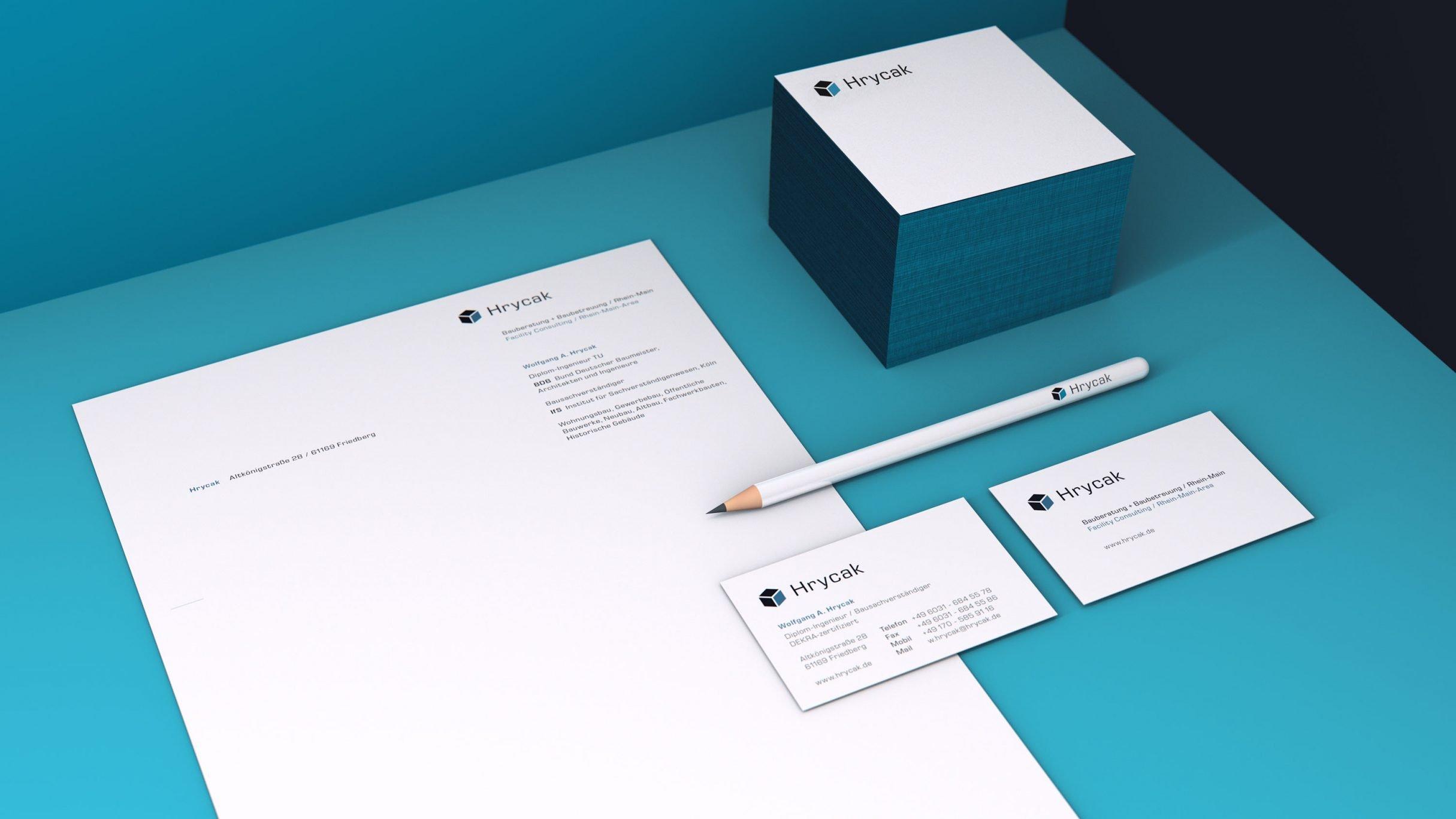 Corporate Design, Birefpapier und Visitenkarten für Hrycak Beratung: DIE NEUDENKER® Agentur, Darmstadt