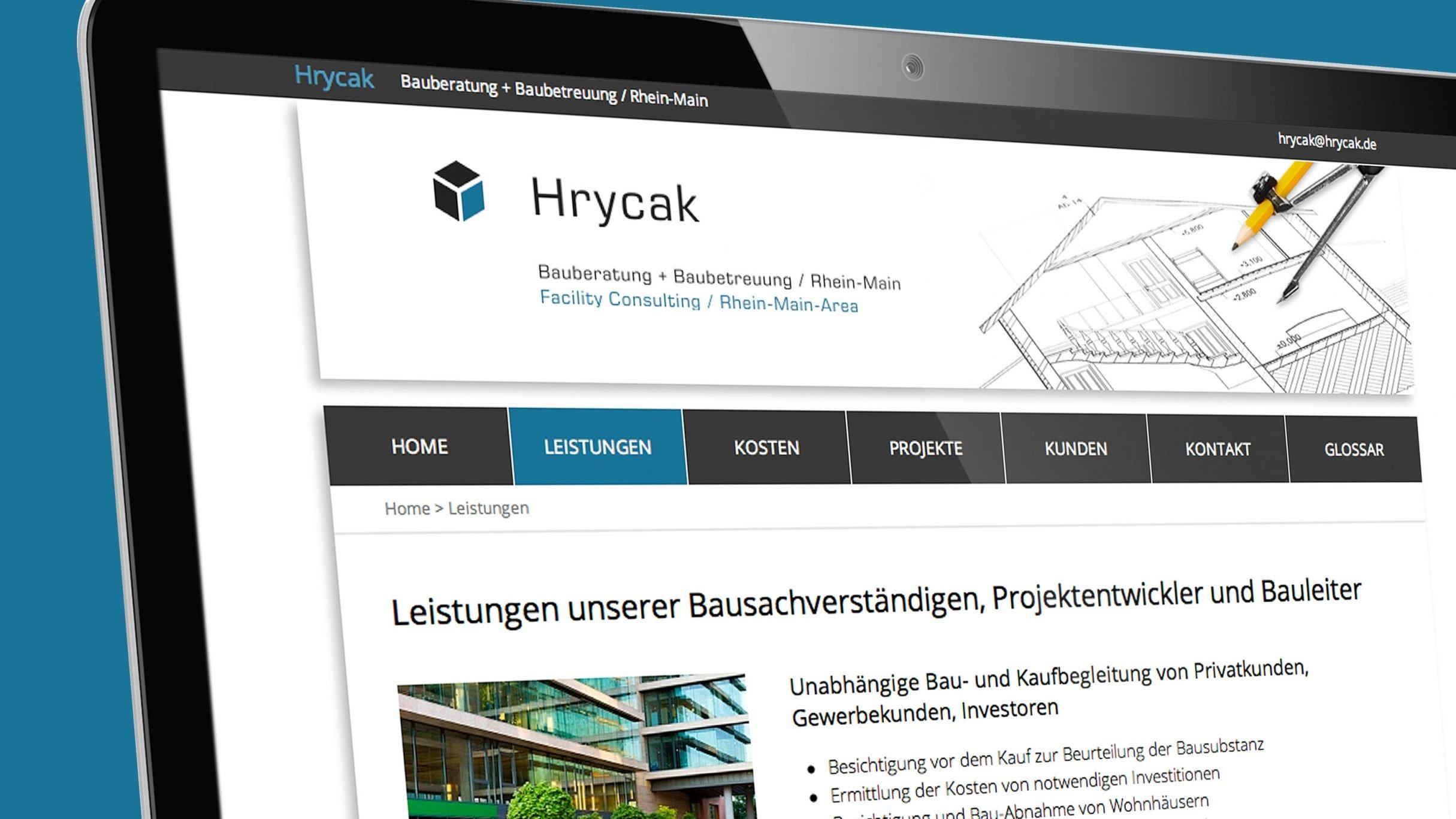 Responsive Design für Hrycak Bausachverständiger: DIE NEUDENKER® Agentur, Darmstadt