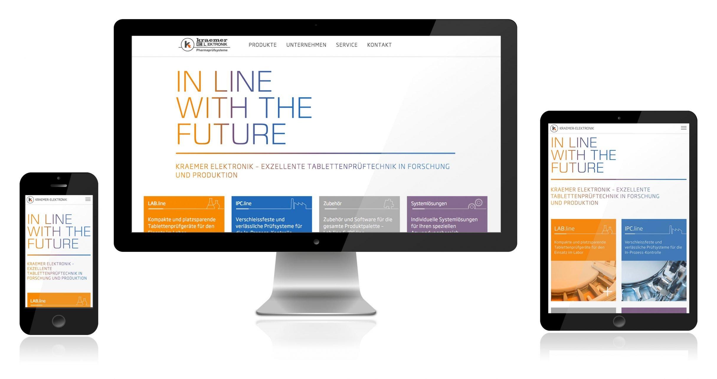 Corporate Website, Responsive Webdesign für Kraemer Elektronik: DIE NEUDENKER® Agentur, Darmstadt