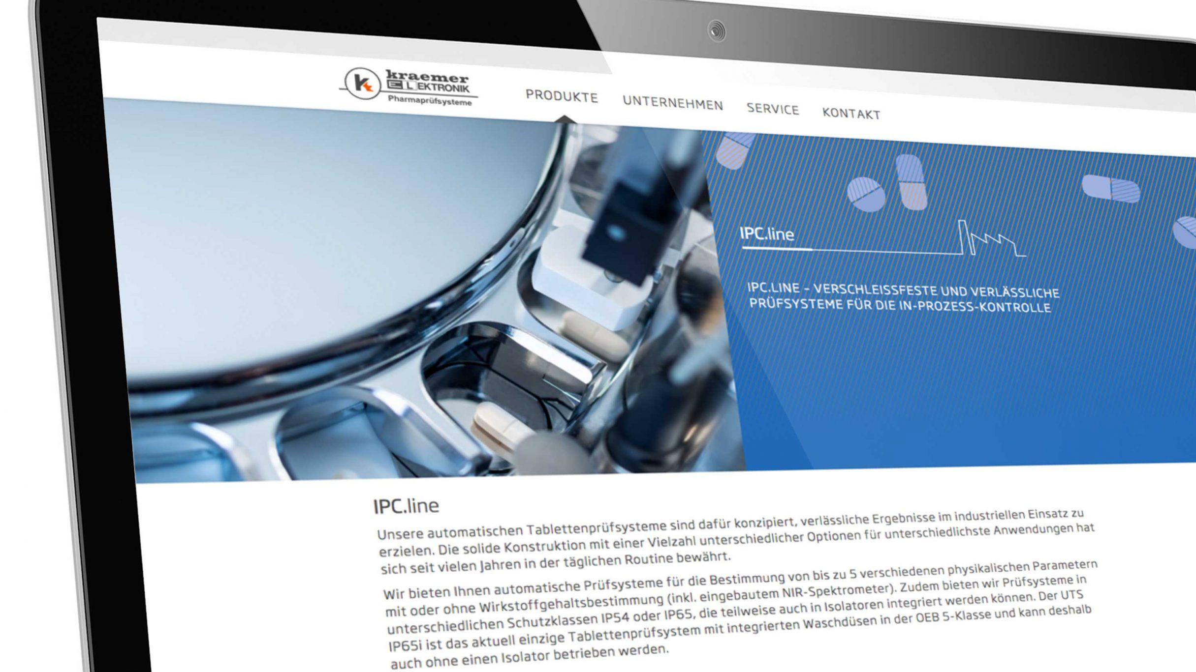 Webdesign für Kraemer Elektronik Tablettenprüfsysteme: DIE NEUDENKER® Agentur, Darmstadt