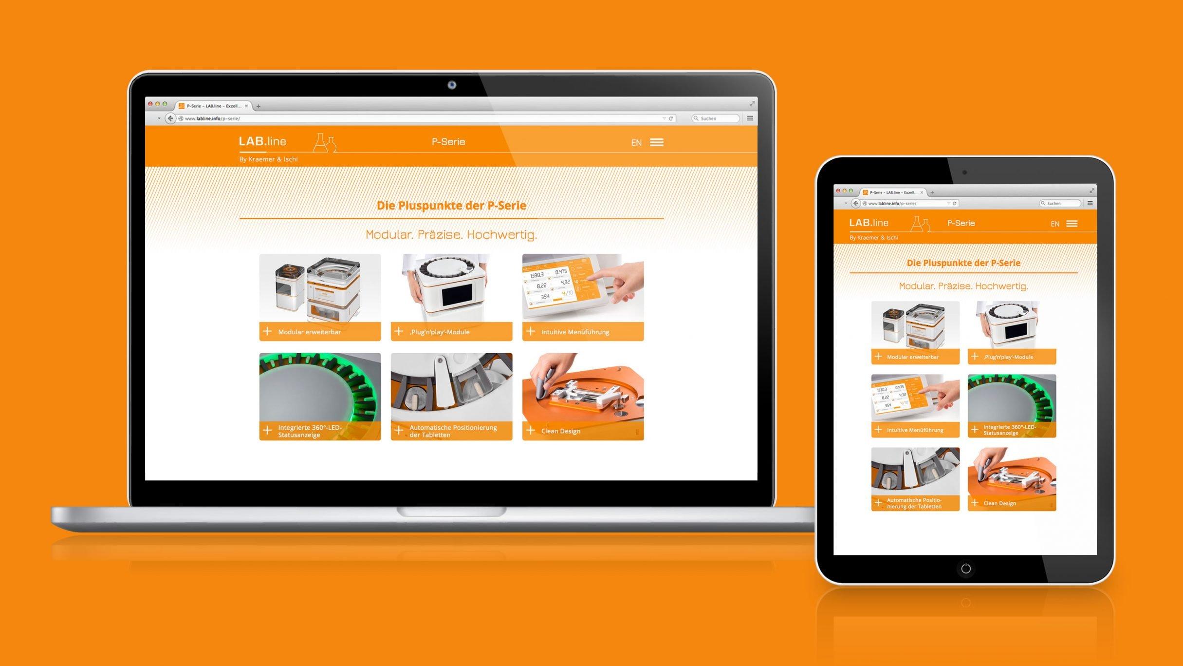 Landing Page, Micro-Website, Labline Tablettenprüfgeräte für Kraemer Elektronik und Charles Ischi: DIE NEUDENKER® Agentur, Darmstadt