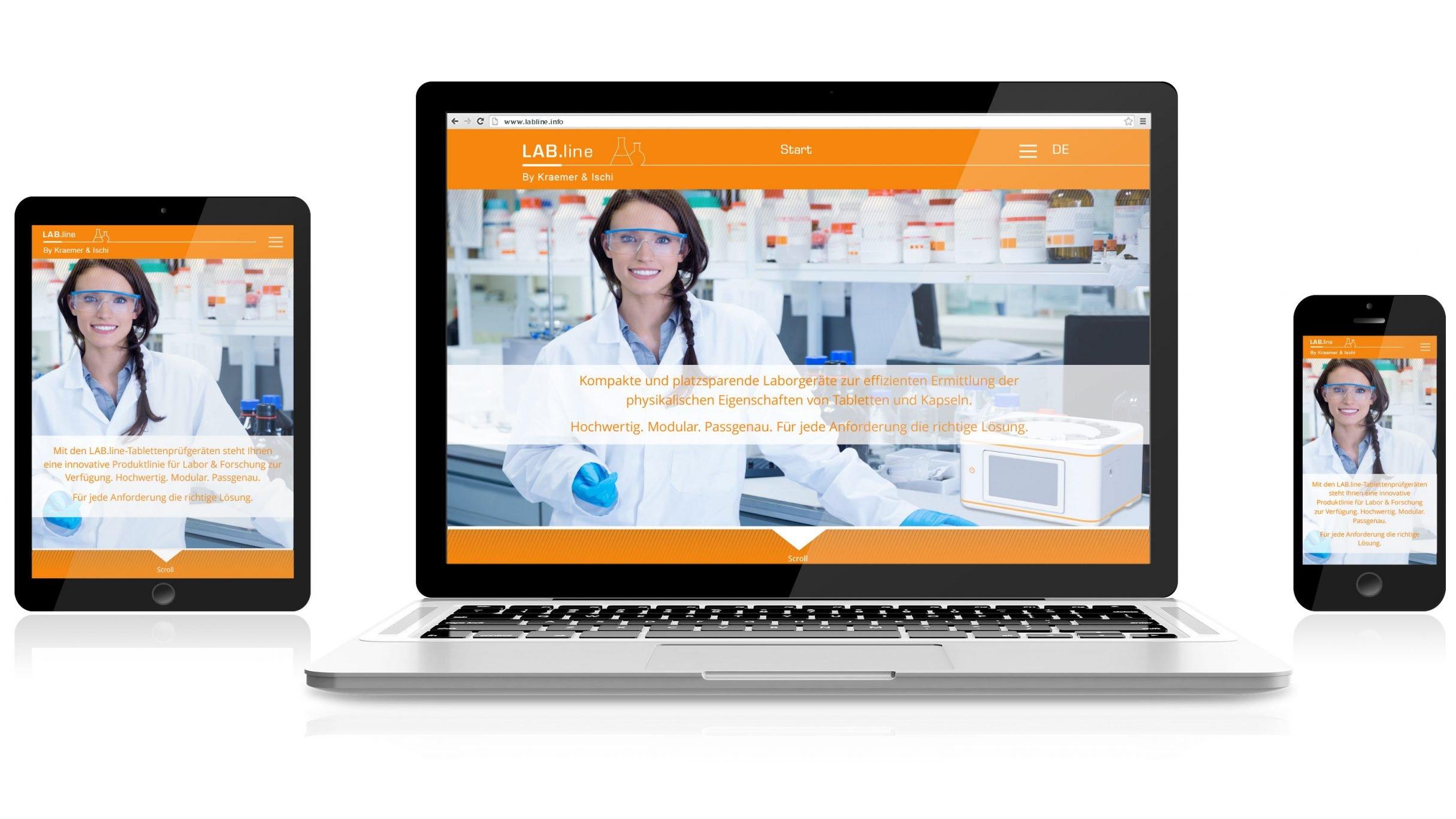 Responsive Webdesign, Labline für Kraemer Elektronik und Charles Ischi: DIE NEUDENKER® Agentur, Darmstadt