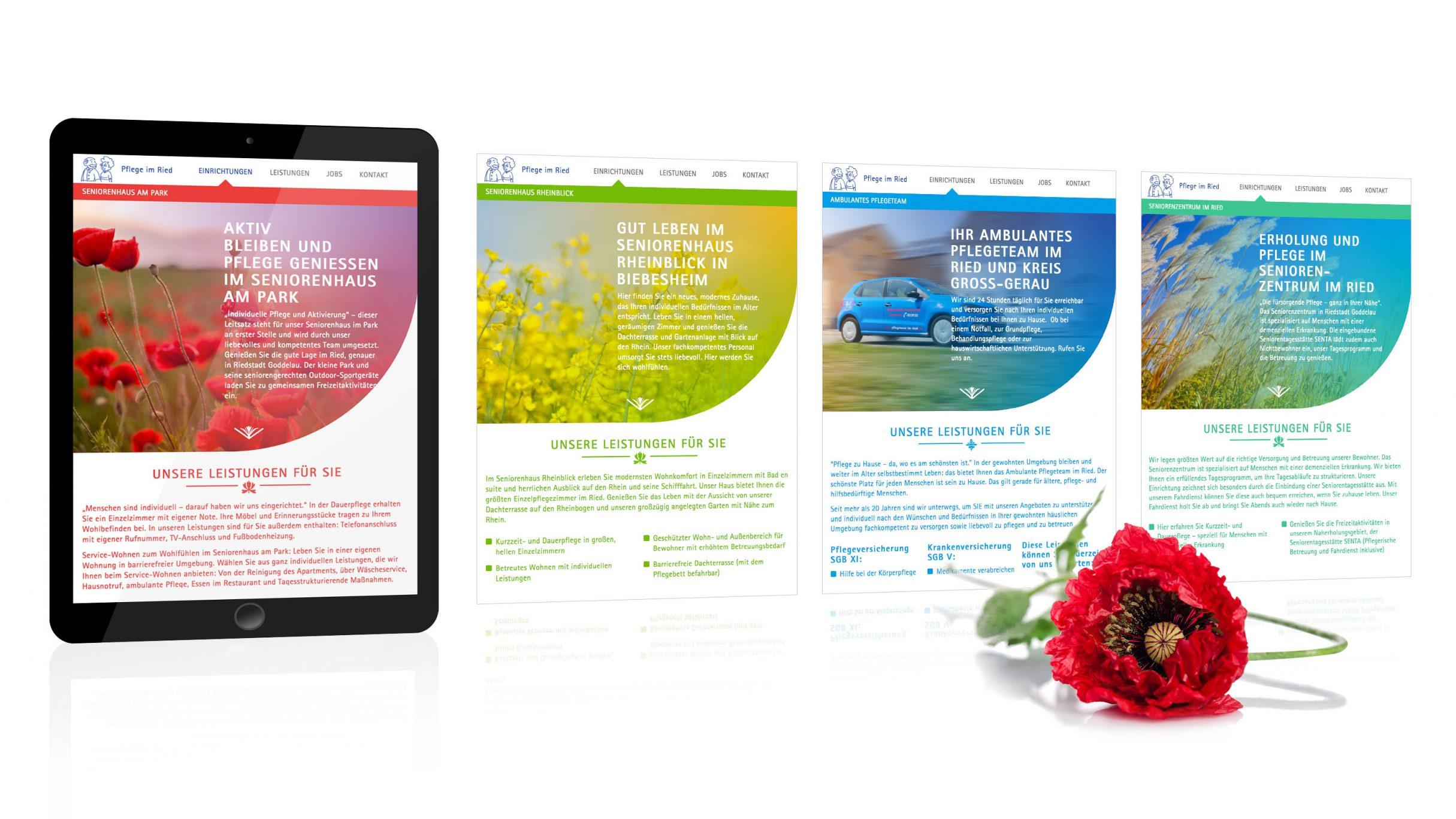 Homepage für Pflege im Ried: DIE NEUDENKER® Agentur, Darmstadt