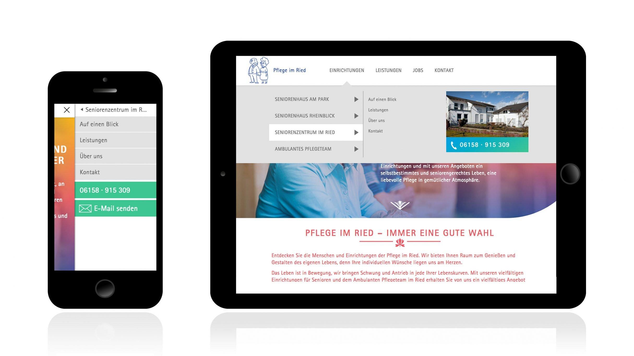 Website für Pflege im Ried: DIE NEUDENKER® Agentur, Darmstadt