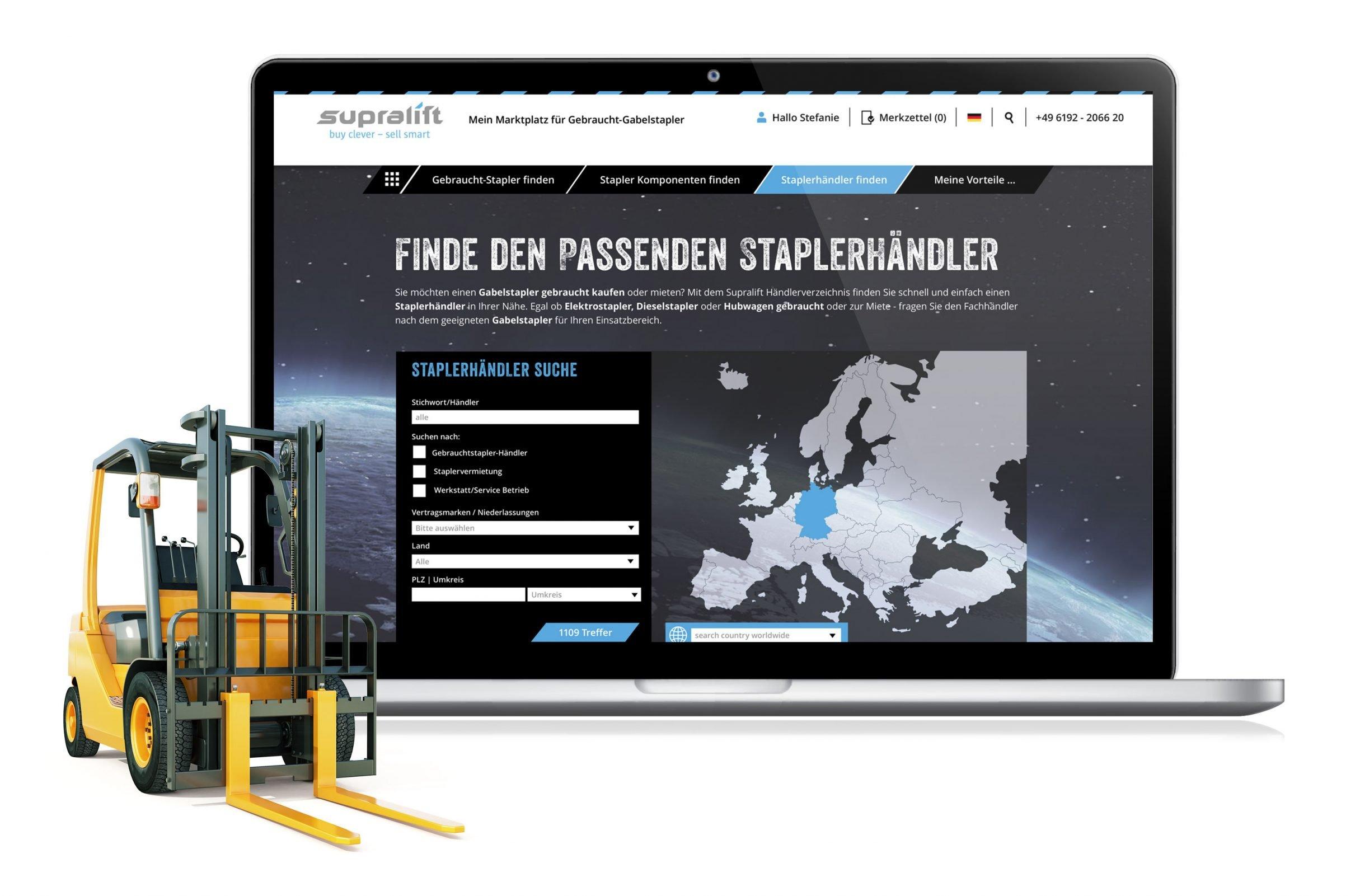 Webportal Händlersuche für Supralift Gebrauchtgabelstapler: DIE NEUDENKER® Agentur, Darmstadt