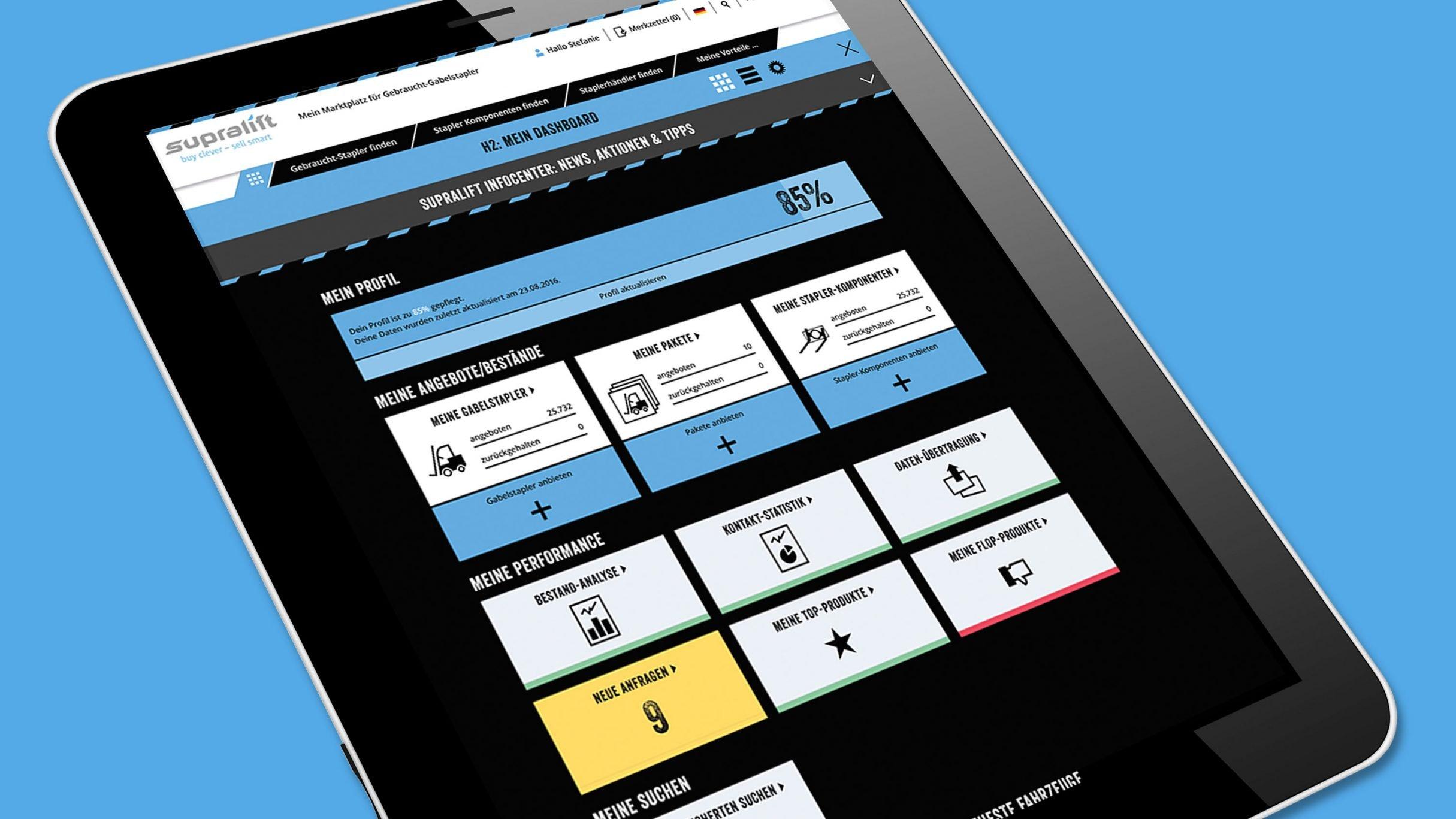 Webportal Dashboard für Supralift Gebrauchtgabelstapler: DIE NEUDENKER® Agentur, Darmstadt