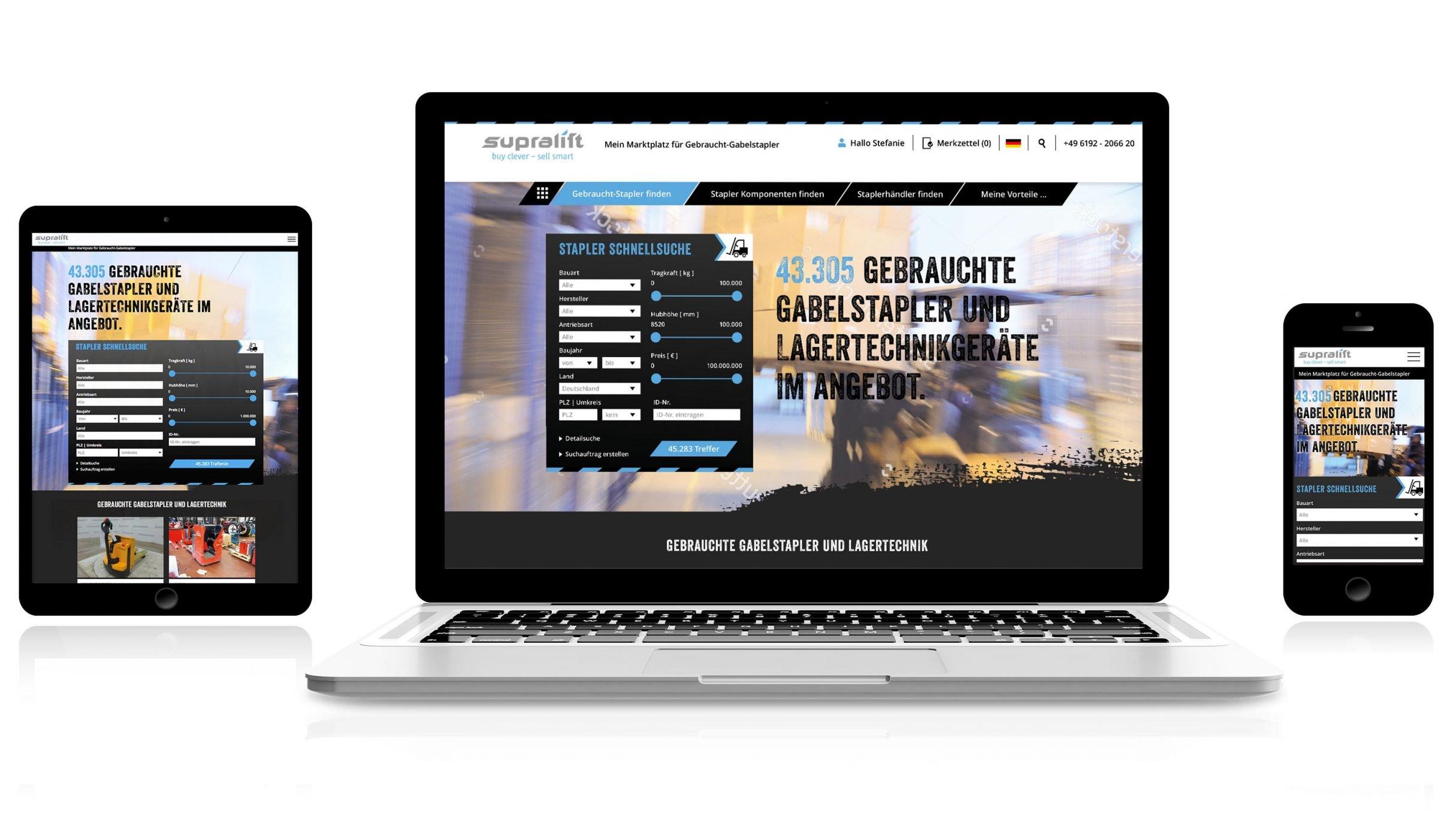 Responsive Webdesign, Webportal für Supralift Gebrauchtgabelstapler: DIE NEUDENKER® Agentur, Darmstadt