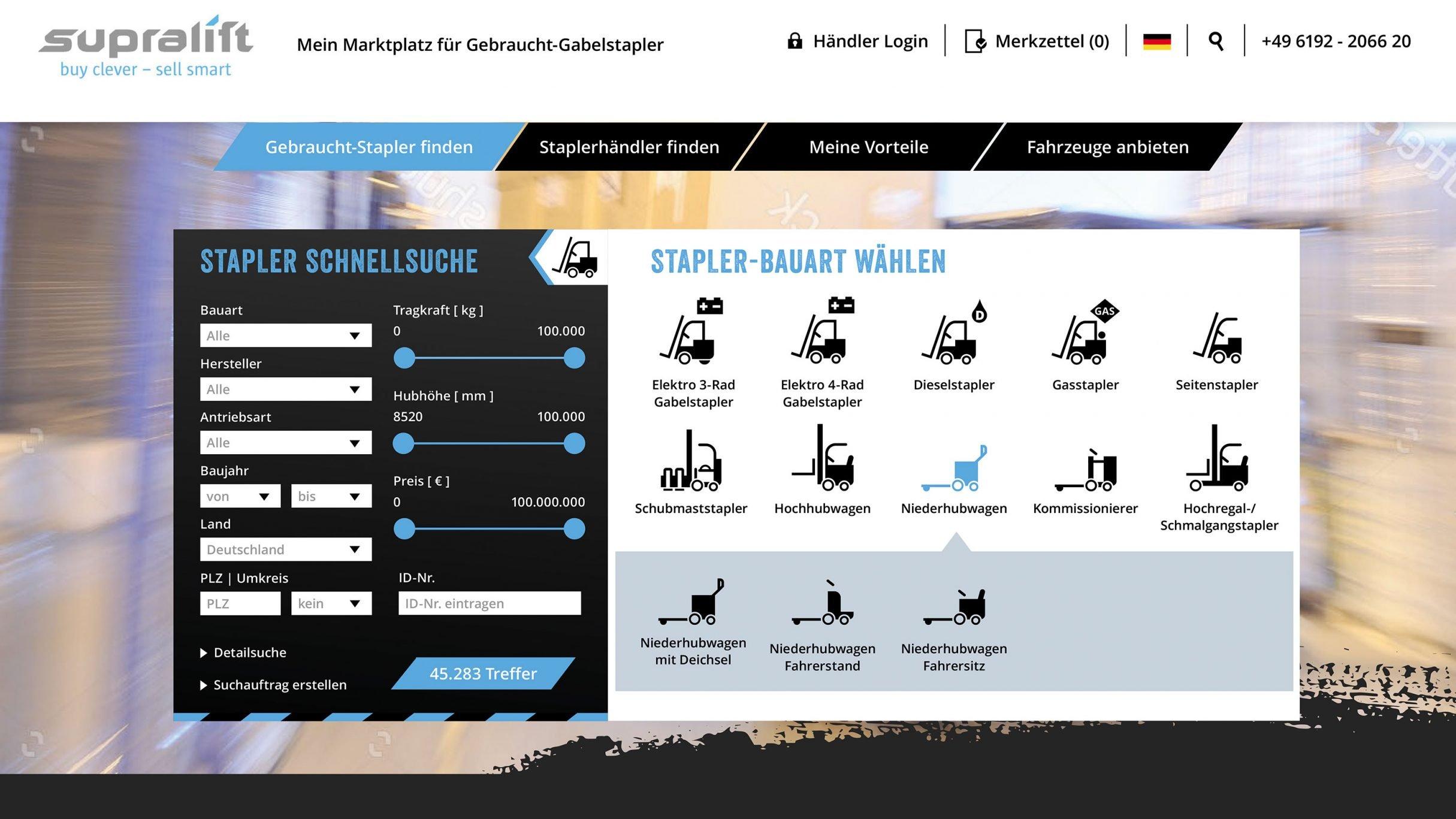 Webportal Schnellsuche für Supralift: DIE NEUDENKER® Agentur, Darmstadt
