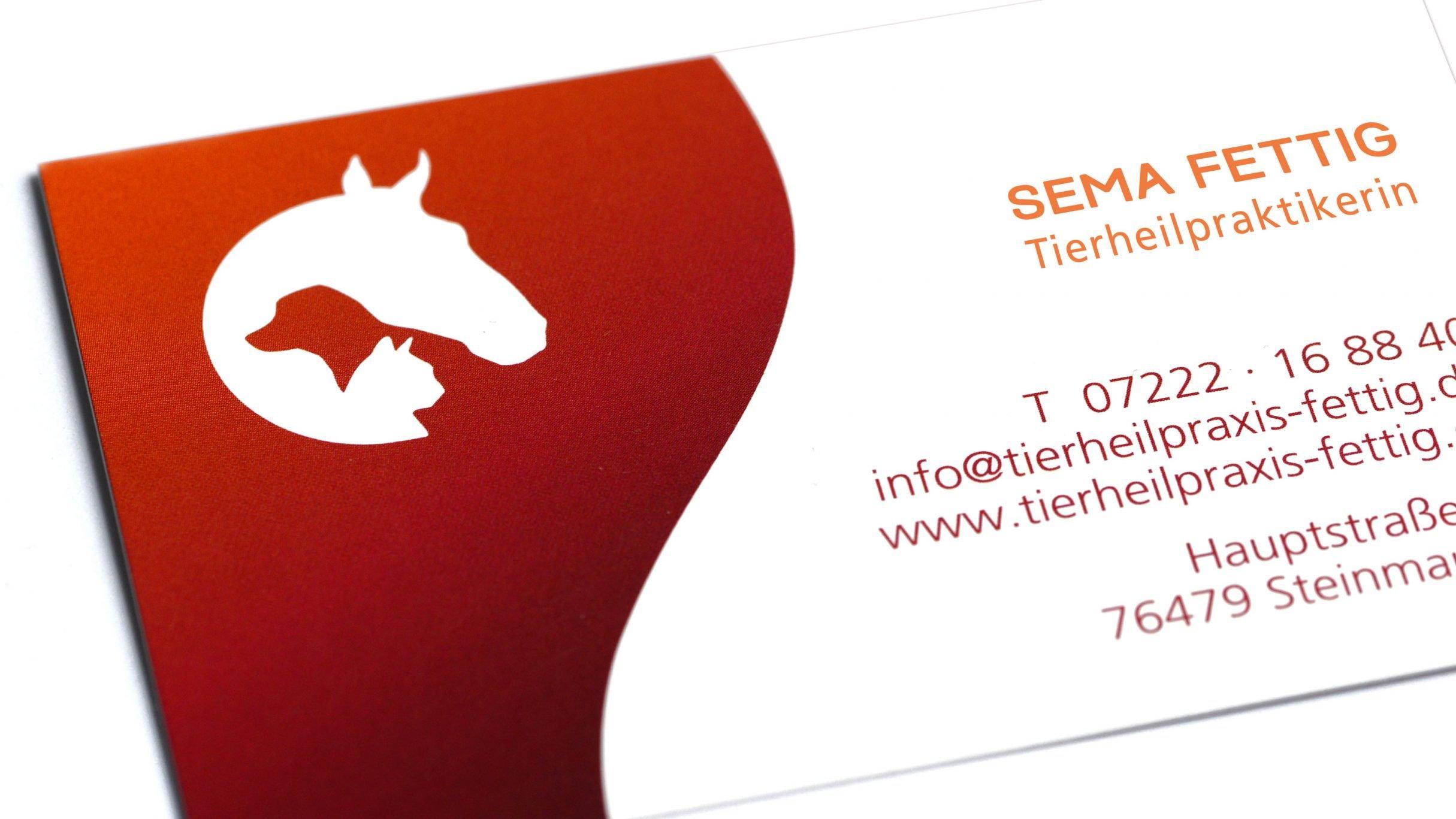 Corporate Design, Visitenkarten für die Tierheilpraxis Sema Fettig: DIE NEUDENKER® Agentur, Darmstadt