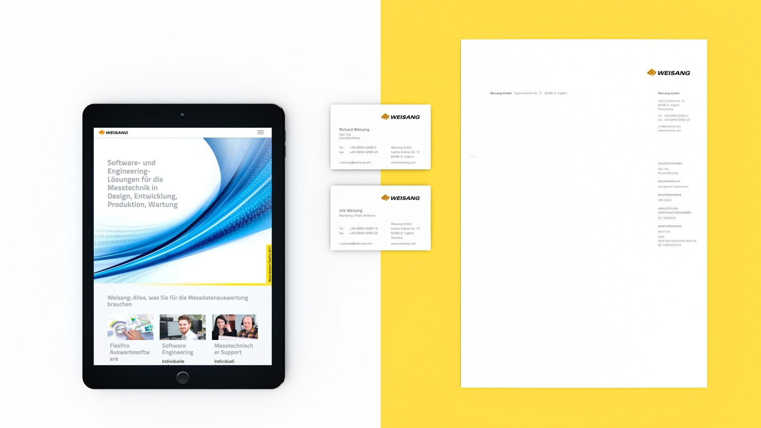 Markenkommunikation, Webdesign, Biefpapier und Visitenkarten für Weisang: DIE NEUDENKER® Agentur, Darmstadt