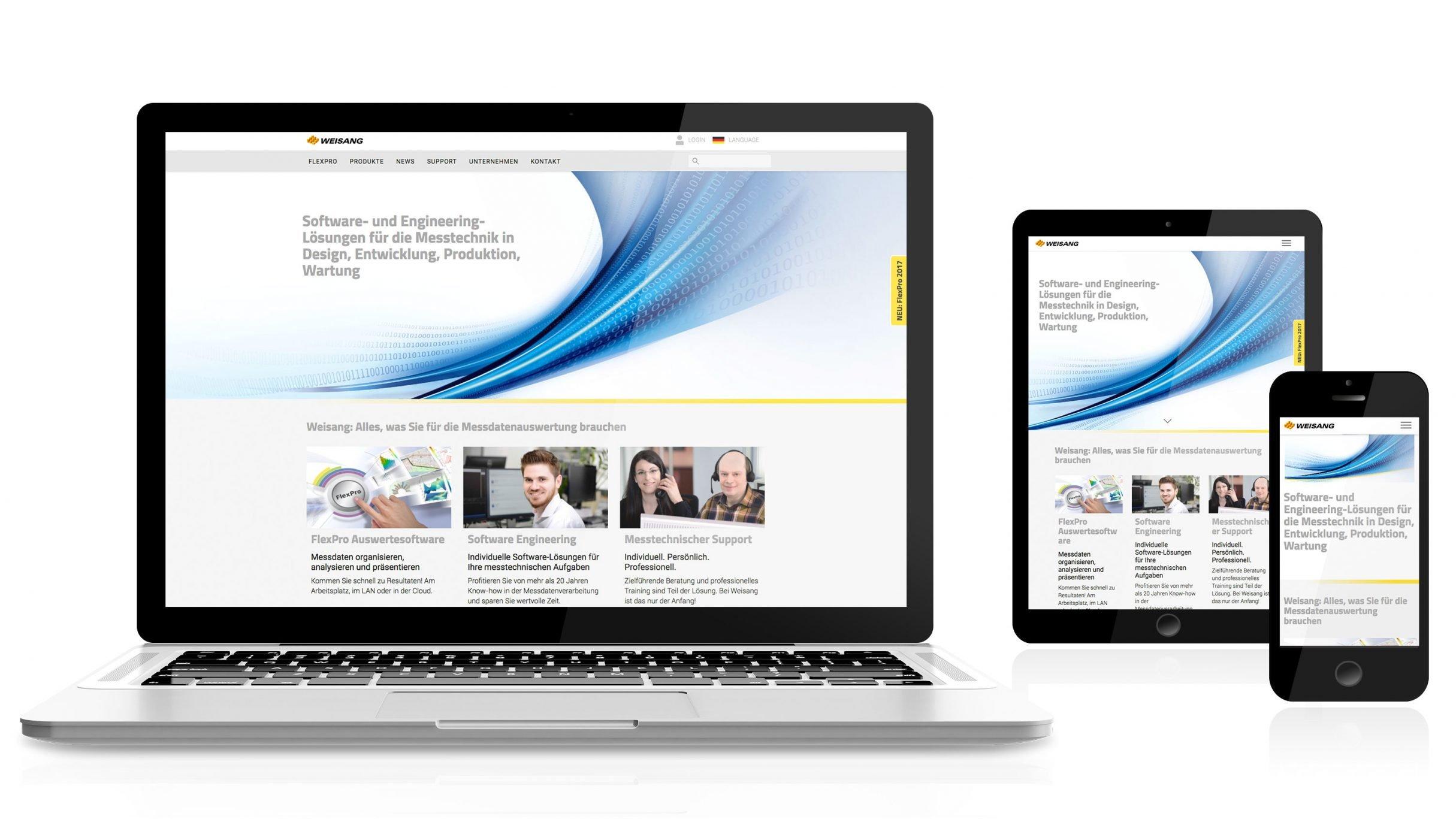 Responsive Webdesign, Markenkommunikation für Weisang: DIE NEUDENKER® Agentur, Darmstadt