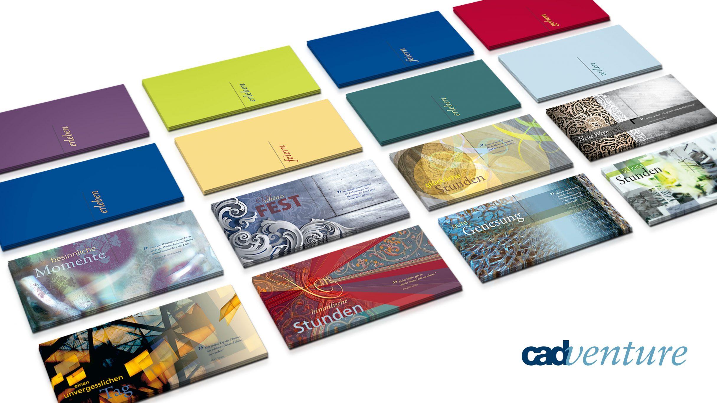 Corporate Design, Grußkartenset für cadventure: DIE NEUDENKER® Agentur, Darmstadt