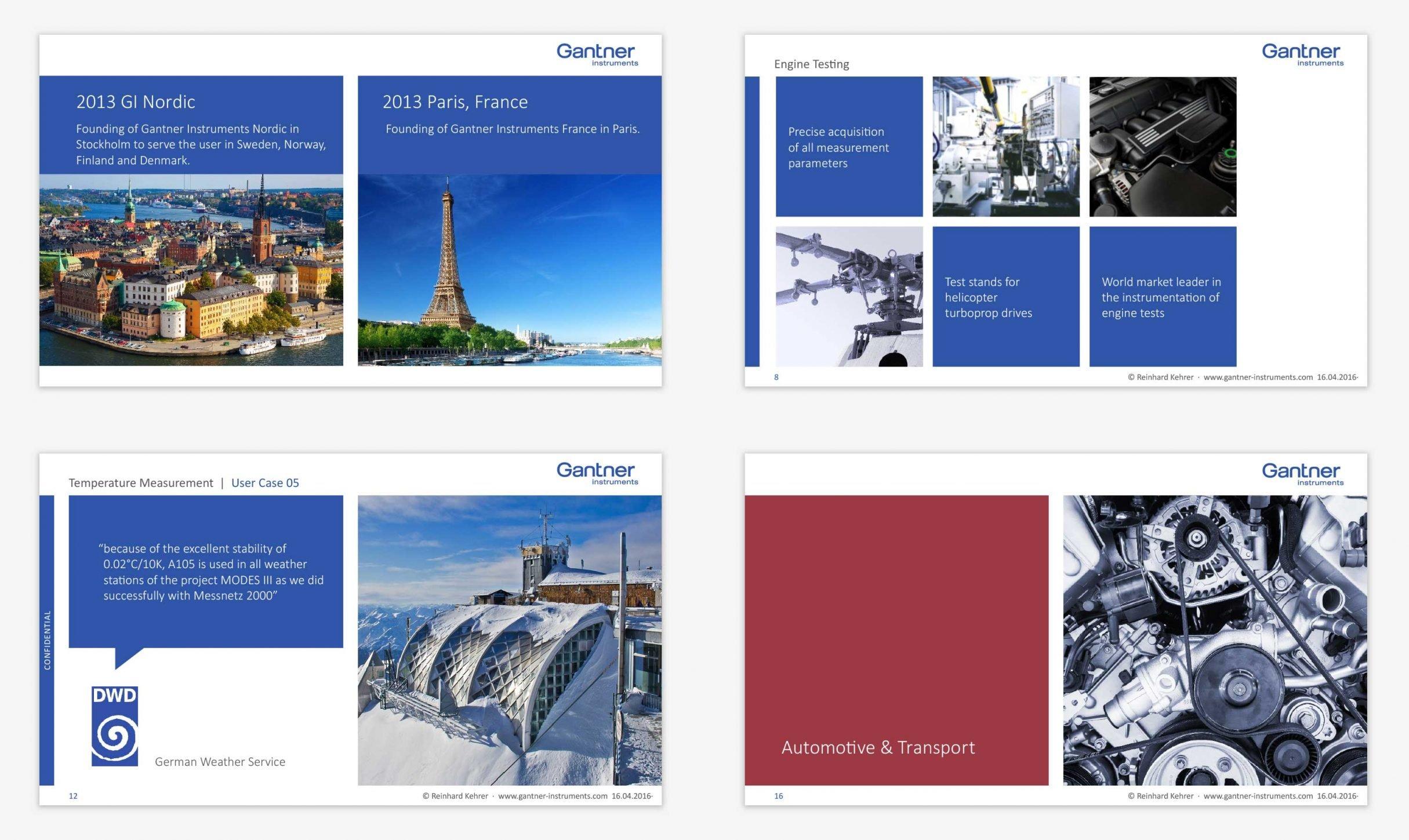 Branding, Geschäftsausstattung, PowerPoint Template für Gantner Instruments: DIE NEUDENKER® Agentur, Darmstadt