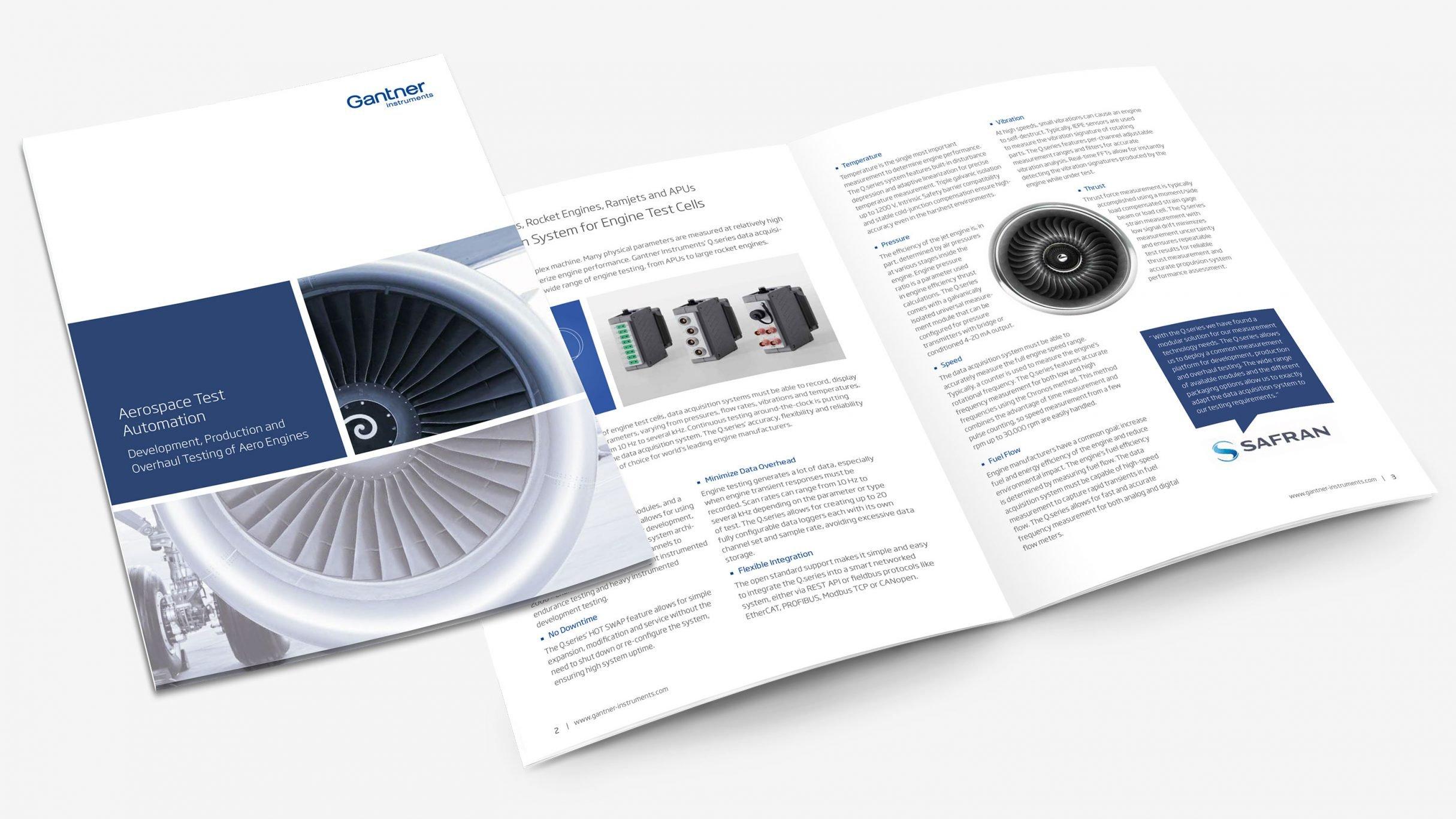 Broschüre Aerospace Test Automation für Gantner Instruments: DIE NEUDENKER® Agentur, Darmstadt