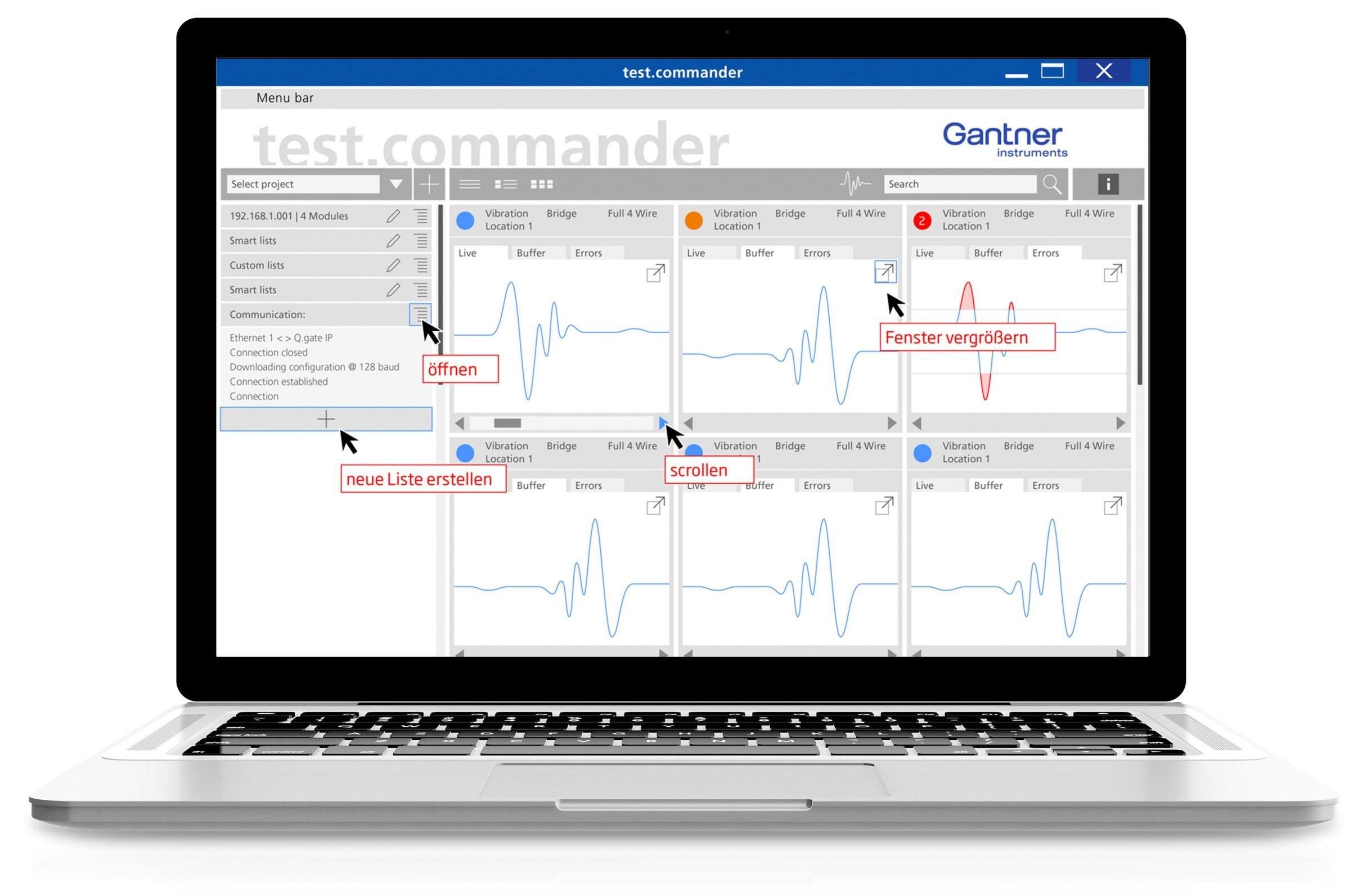Software Design, test.commander für Gantner Instruments: DIE NEUDENKER® Agentur, Darmstadt