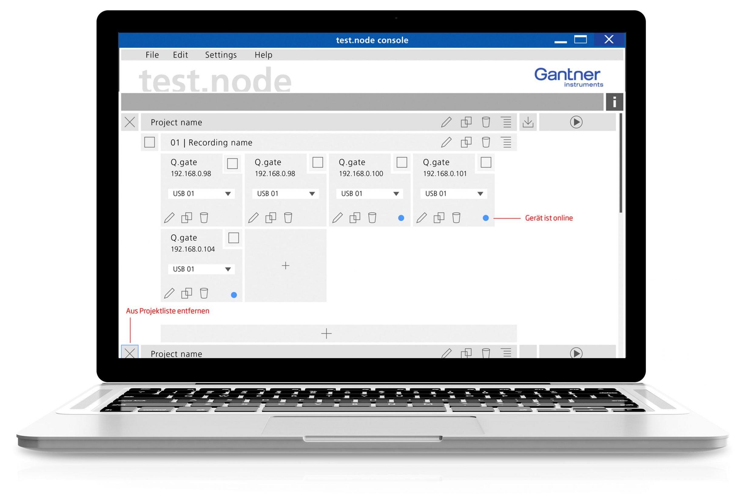 Software Design test.node für Gantner Instruments: DIE NEUDENKER® Agentur, Darmstadt