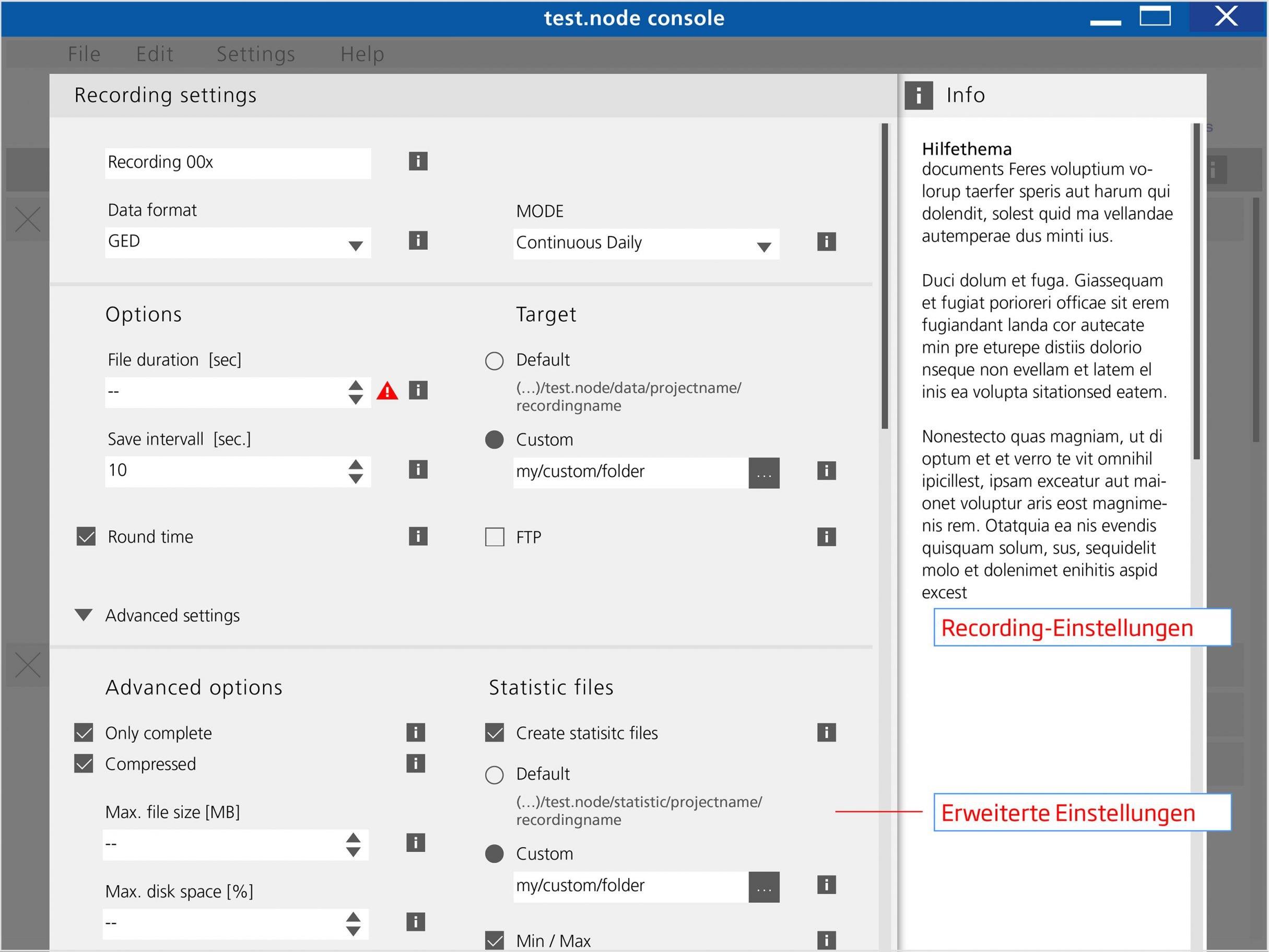 Kontexthilfe, test.node Software für Gantner Instruments: DIE NEUDENKER® Agentur, Darmstadt
