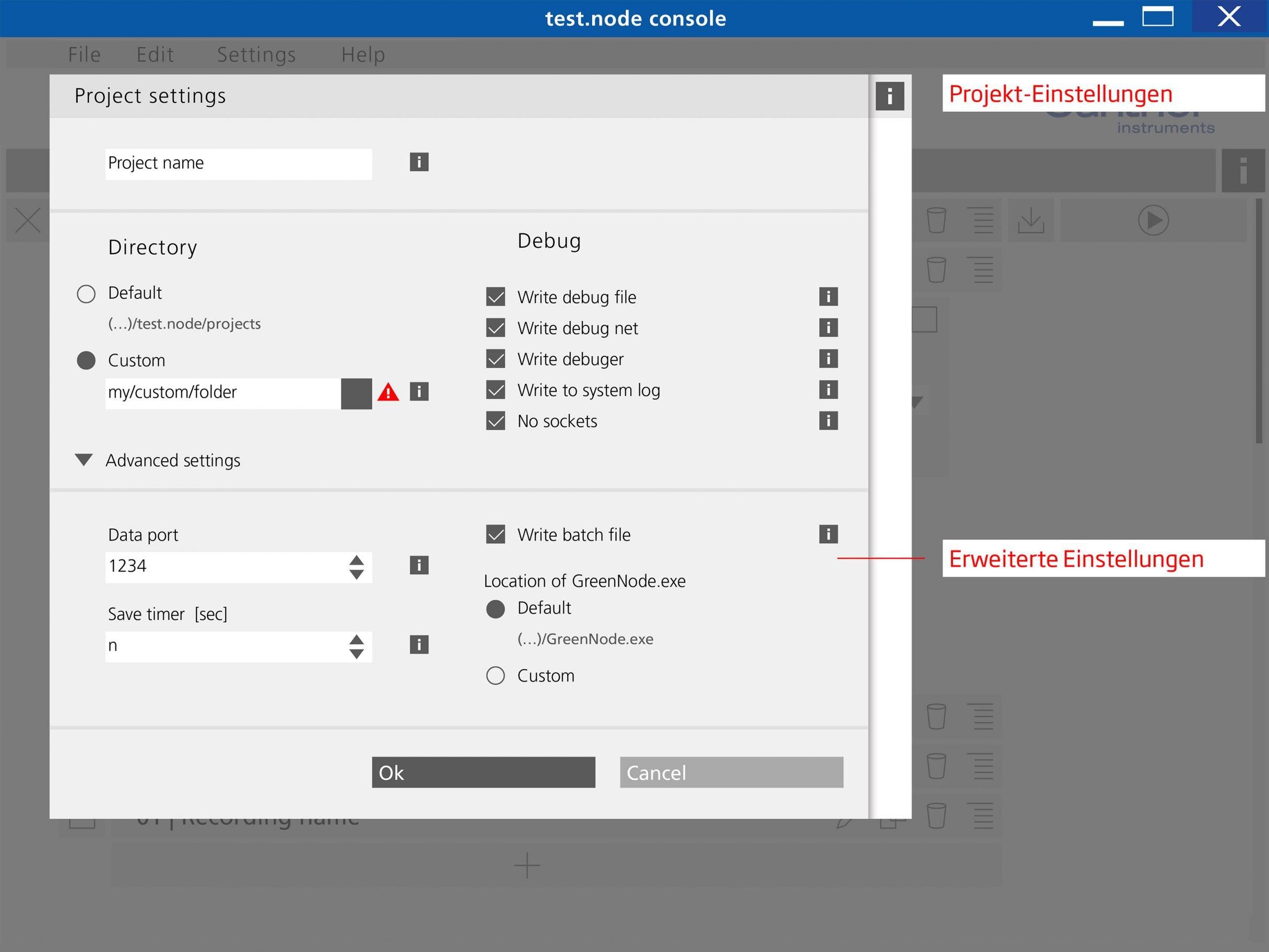 Projekteinstellungen, test.node Software für Gantner Instruments: DIE NEUDENKER® Agentur, Darmstadt
