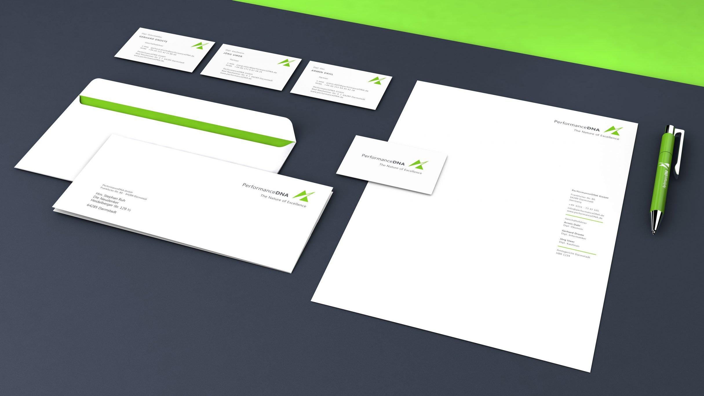 Markenkonzept, Briefpapier, Visitenkarten und Logo für Performance DNA, Start-up: DIE NEUDENKER® Agentur, Darmstadt