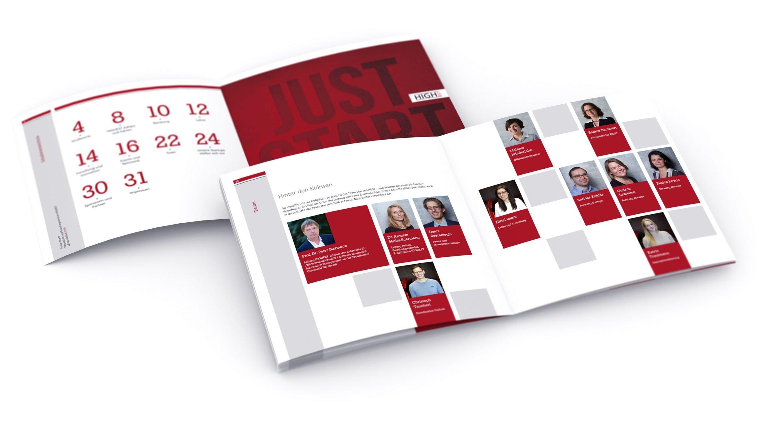 Jahresreport, Highest team Startup-Broschüre für die Technische Universität Darmstadt, TU: DIE NEUDENKER® Agentur, Darmstadt