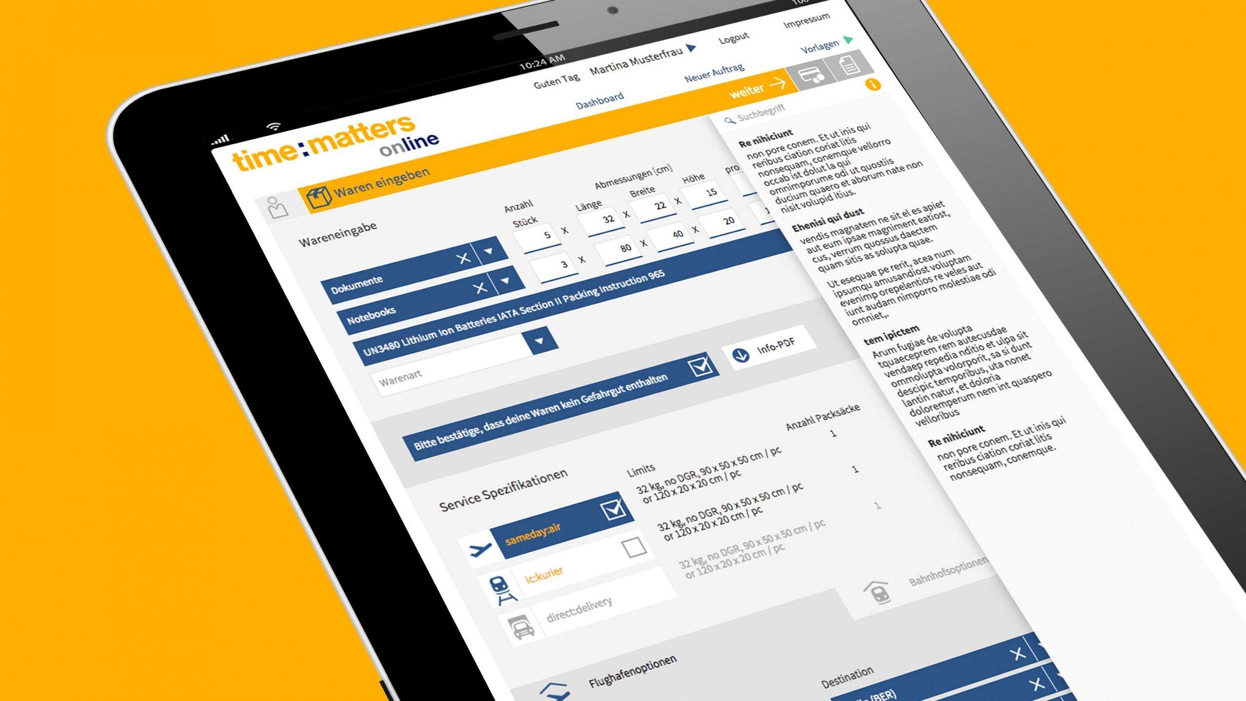 Wareneingabe Buchungsplattform für time:matters online: DIE NEUDENKER® Agentur, Darmstadt
