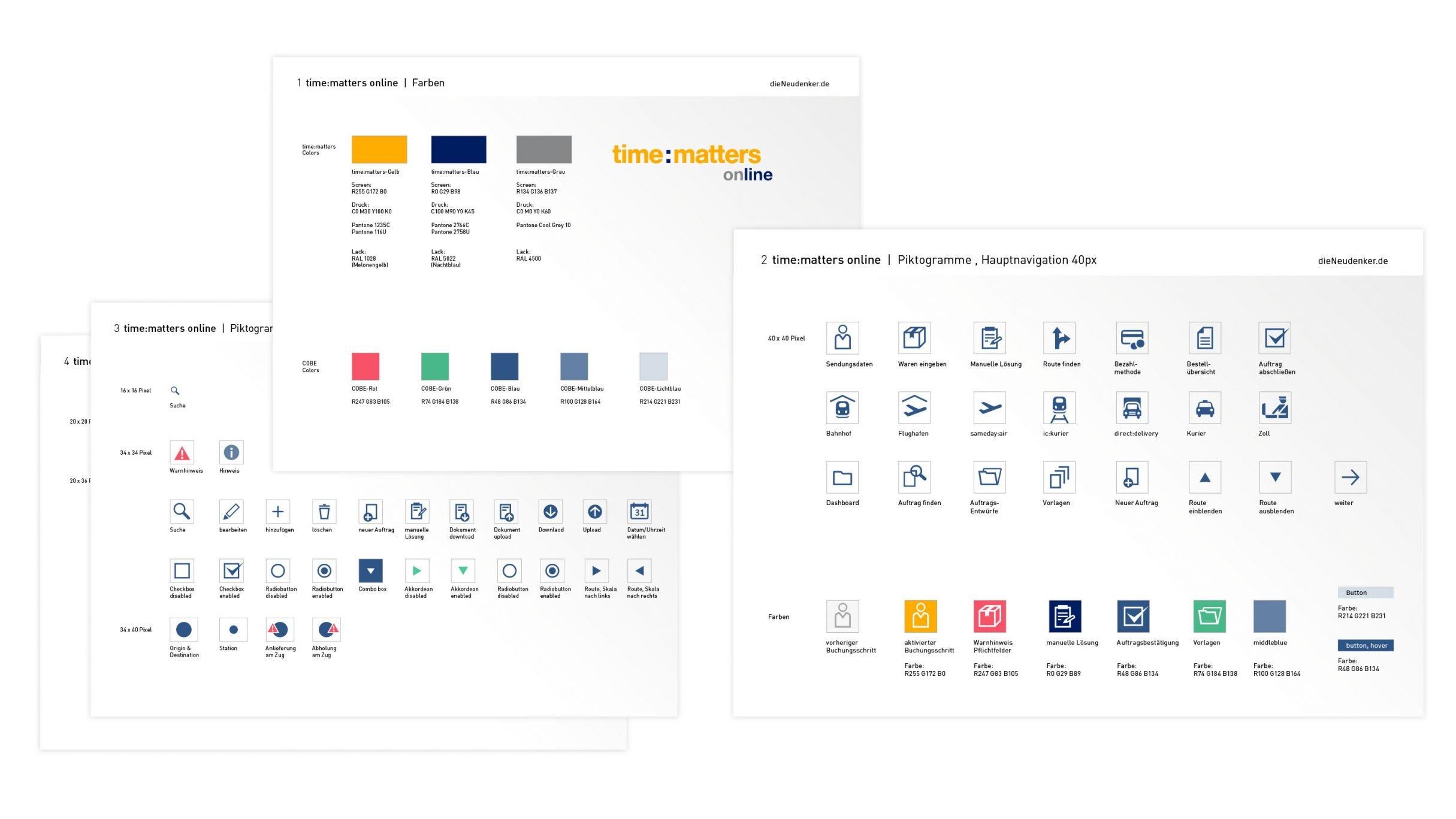 Designguide mit Pictogrammen für time:matters online: DIE NEUDENKER® Agentur, Darmstadt