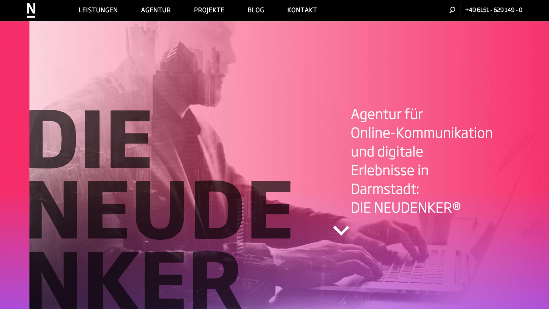 Relaunch, Screenshot vom Header der neuen NEUDENKER Website: DIE NEUDENKER® Agentur, Darmstadt