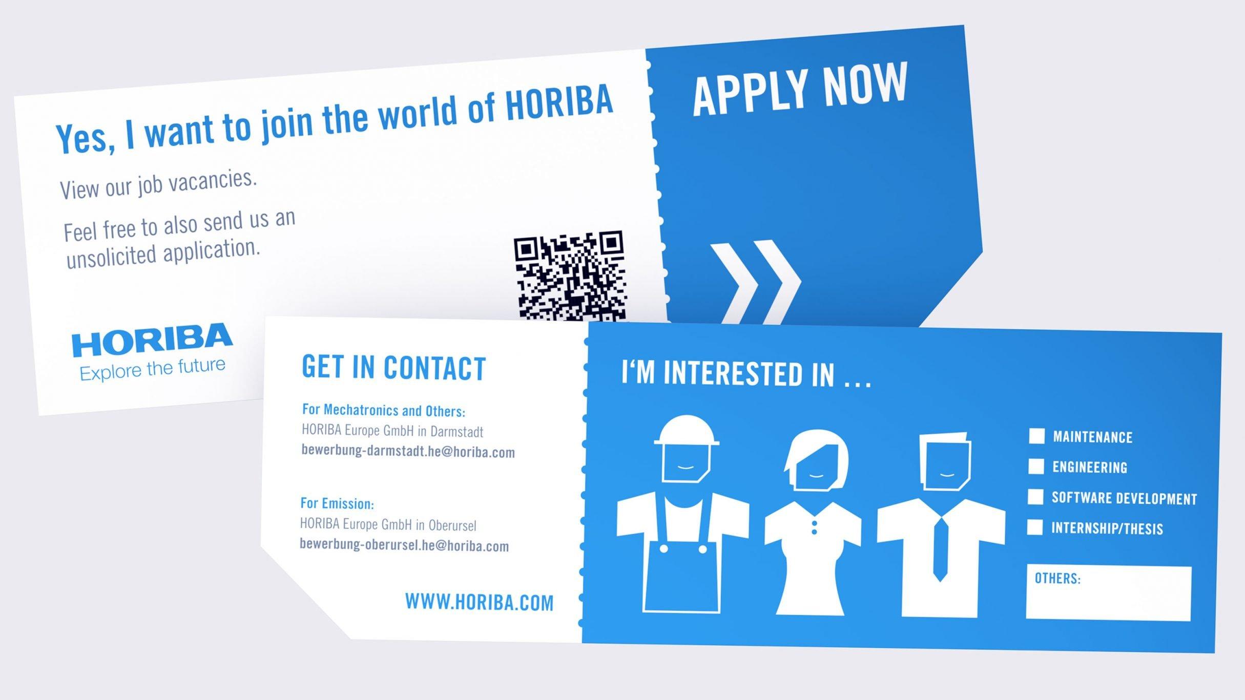 Human Research Recruiting Ticket Design für HORIBA: DIE NEUDENKER® Agentur für Webdesign, Darmstadt