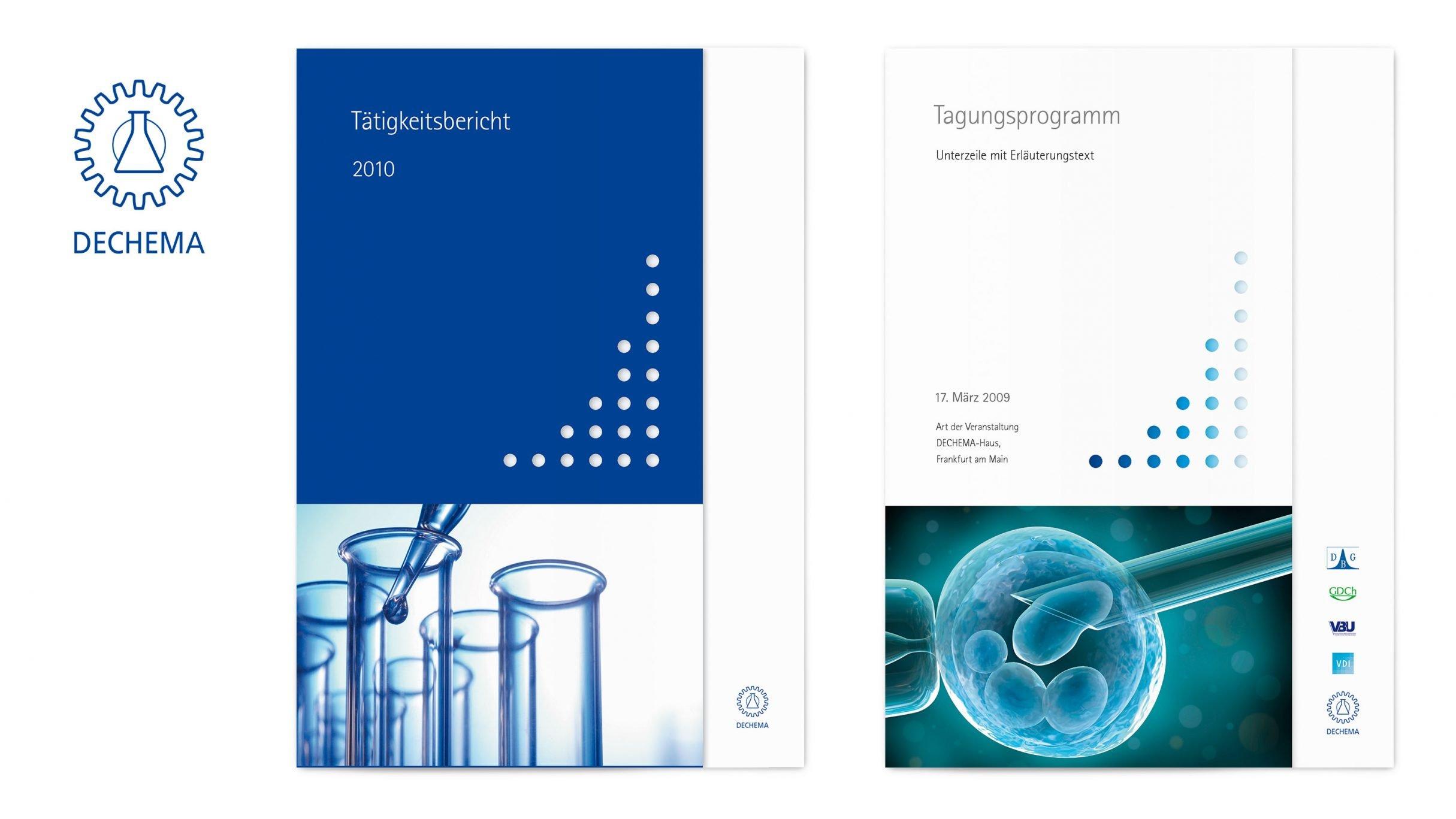 Corporate Design, Geschäftsbericht als Broschüre, DECHEMA e.V.: DIE NEUDENKER® Agentur, Darmstadt