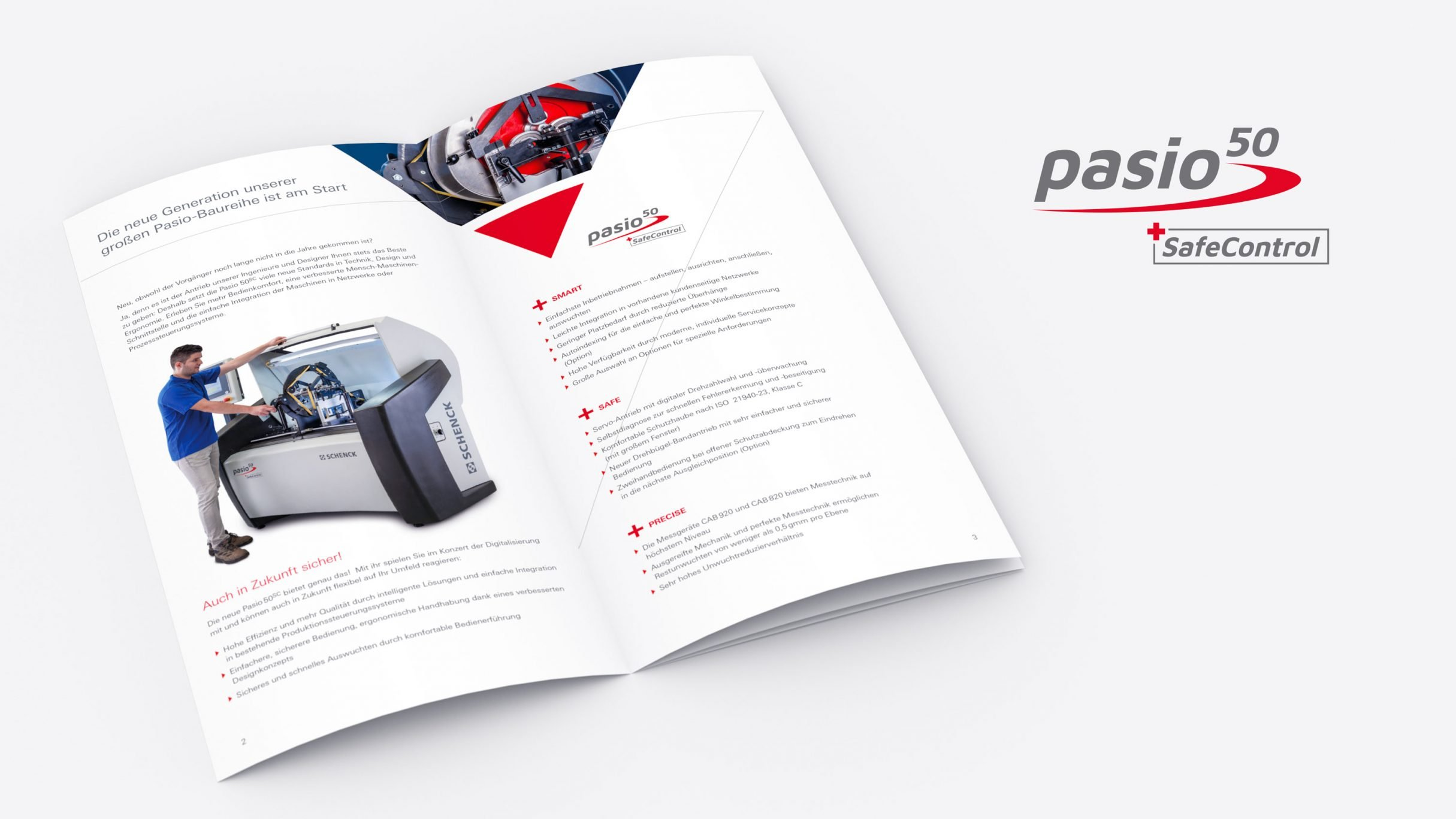 Flyer, Produktinformation Auswuchtmaschine pasio50sc für SCHENCK RoTec: DIE NEUDENKER® Agentur, Darmstadt