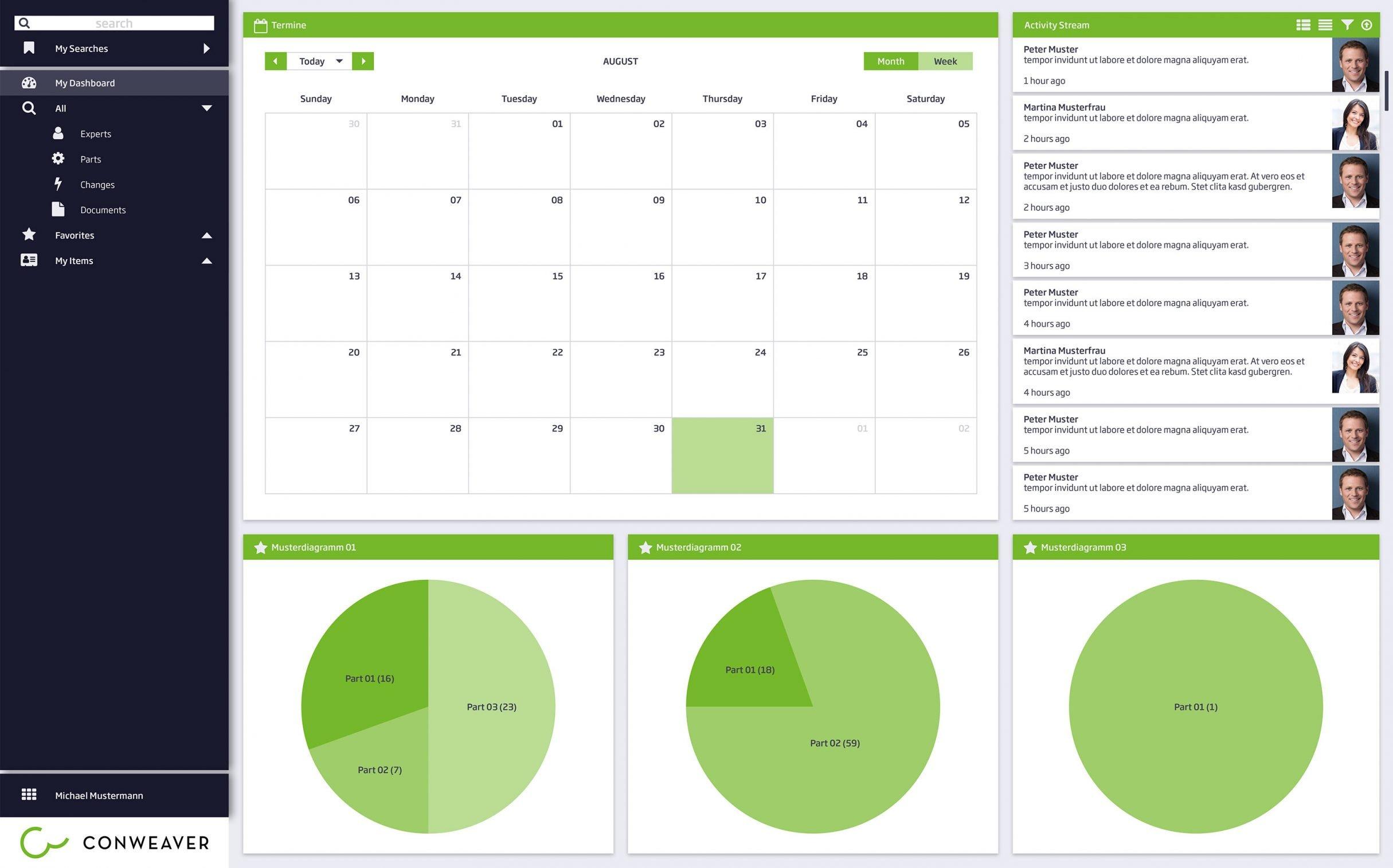 Designguide, Dashboard, Bedienkonzept für Conweaver: DIE NEUDENKER® Agentur, Darmstadt